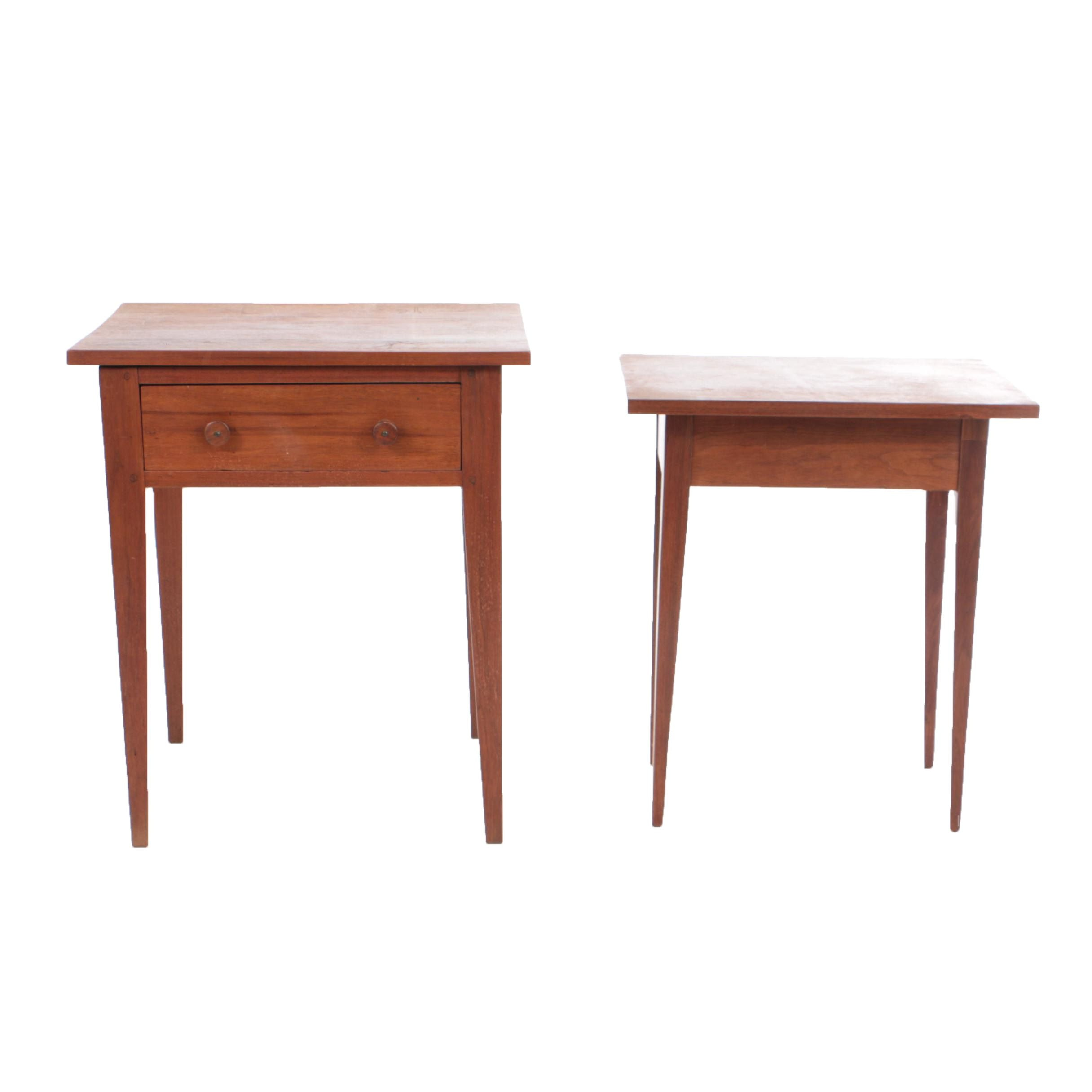 Antique Country Hepplewhite Walnut Side Table with Vintage Bench-Made Example