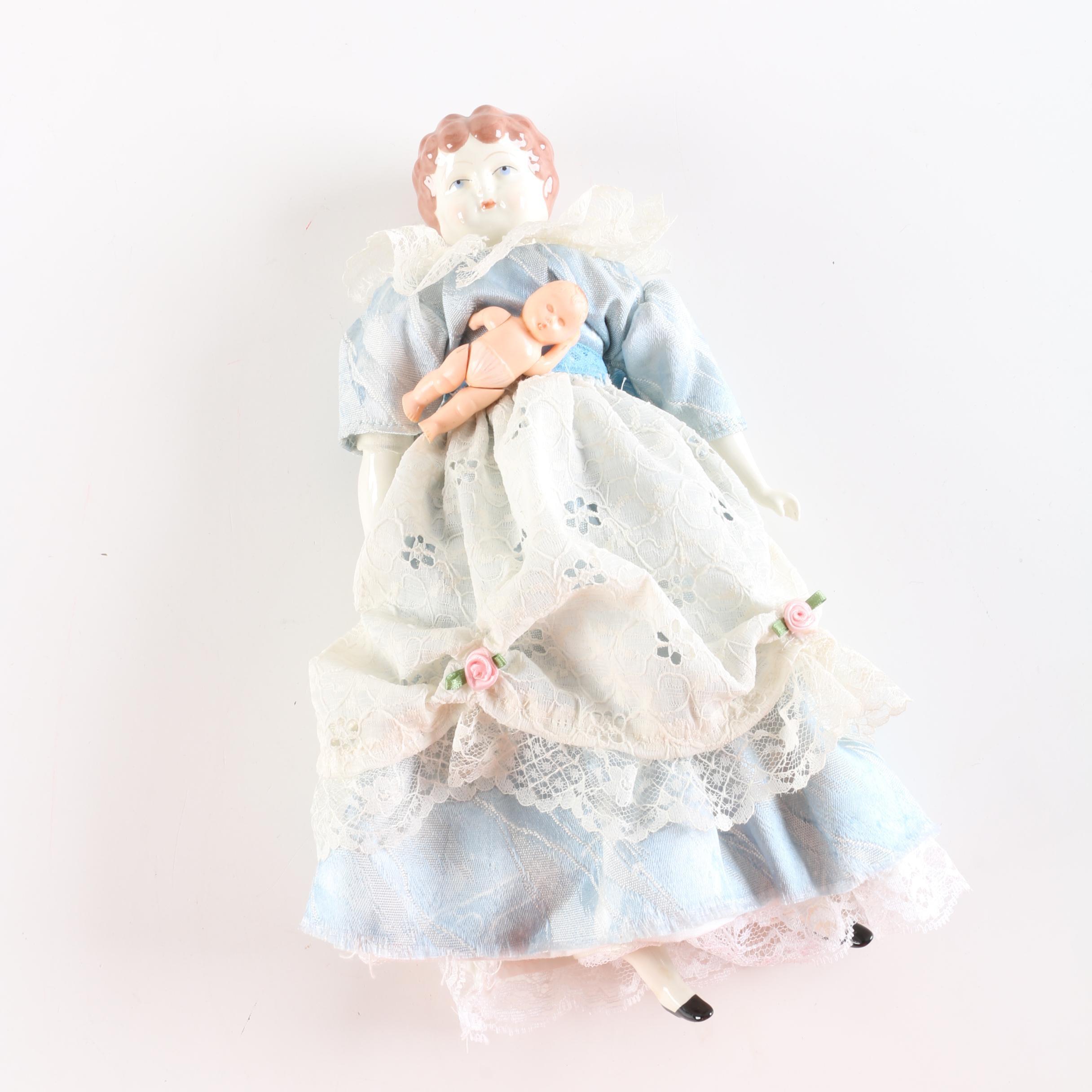 "1972 Tasha Tudor ""Meg"" China Head Doll and Celluloid Penny Doll"
