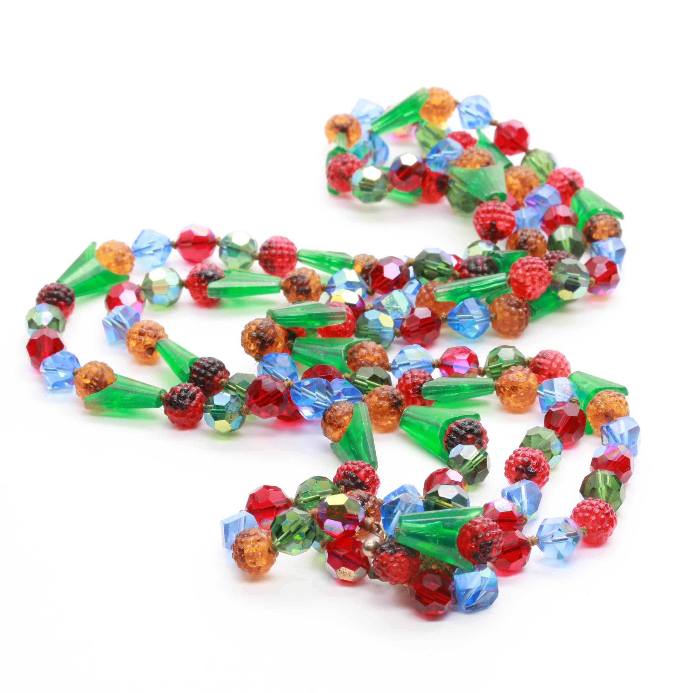 Vintage Vogue Glass Beaded Two Strand Necklace