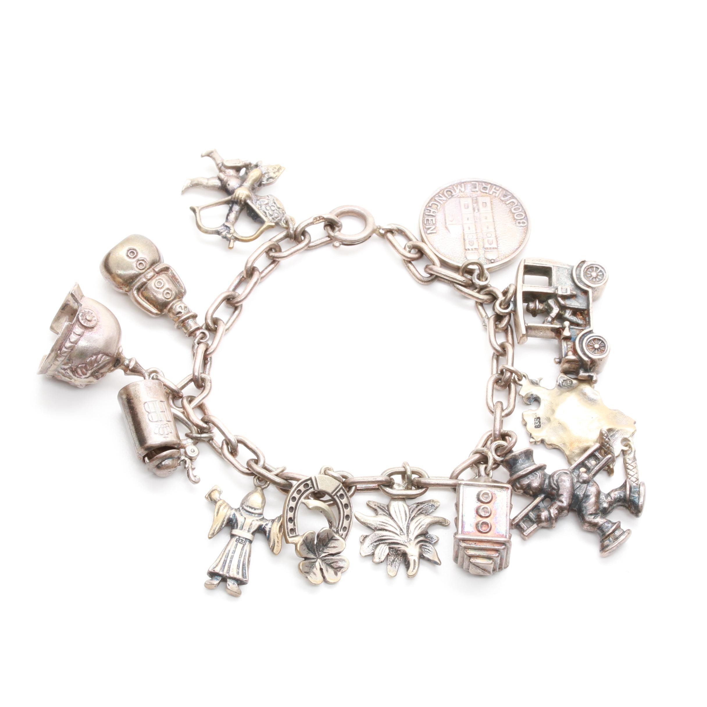 Vintage 835, 800, and Sterling Silver Charm Bracelet
