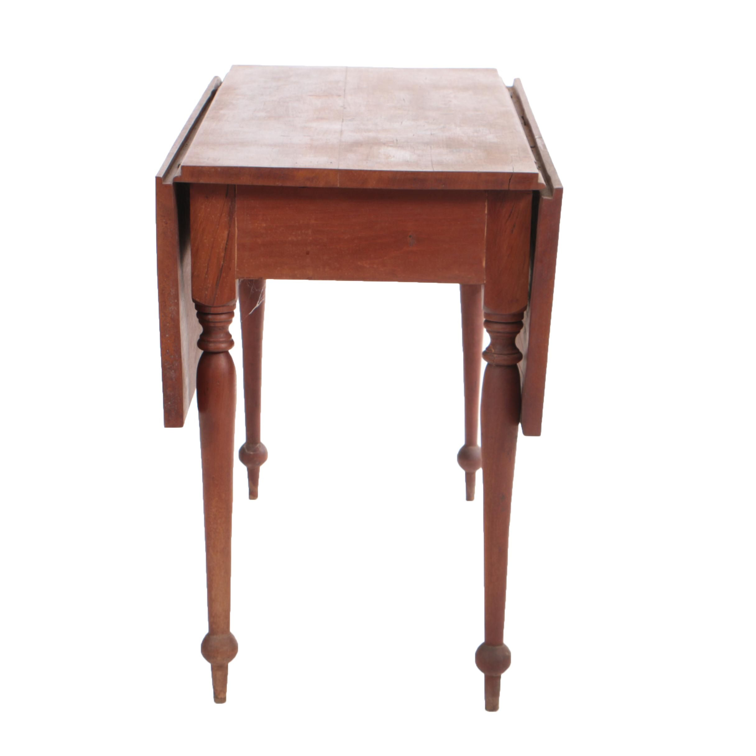 Antique Country Sheraton Cherry Drop-Leaf Table