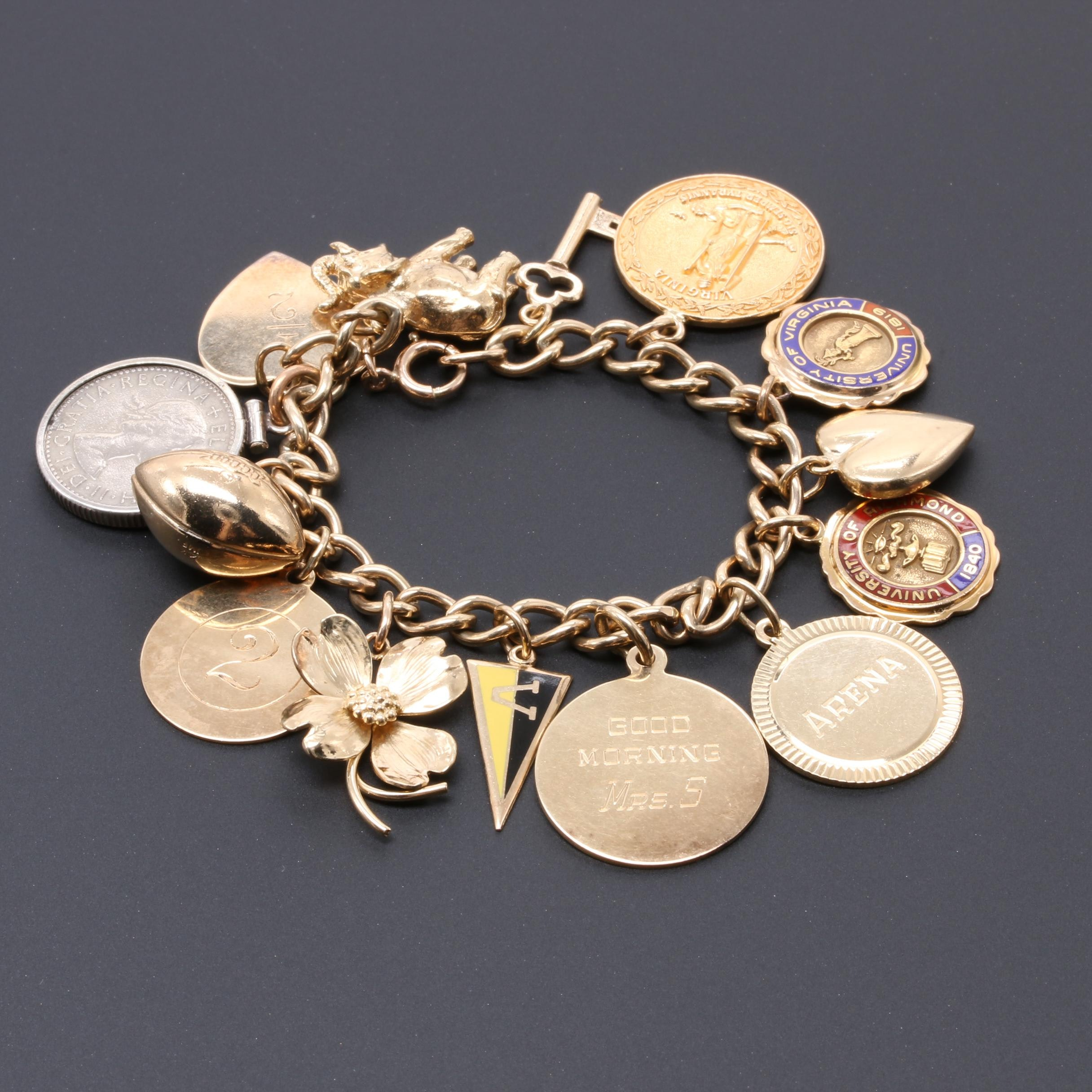 10K Yellow Gold Bracelet with 14K Charms Including Enamel