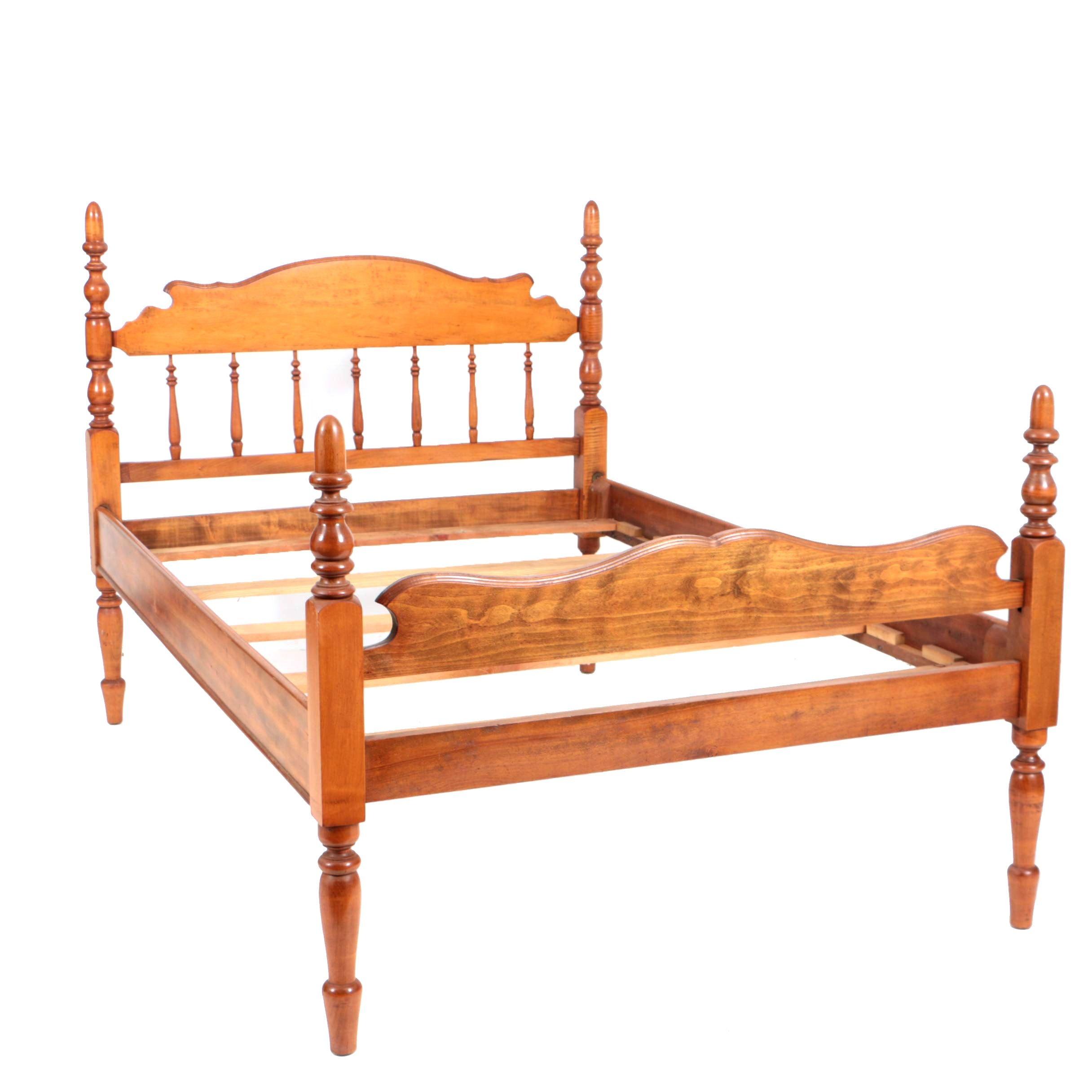Antique Four-Poster Tiger Maple Bed Frame