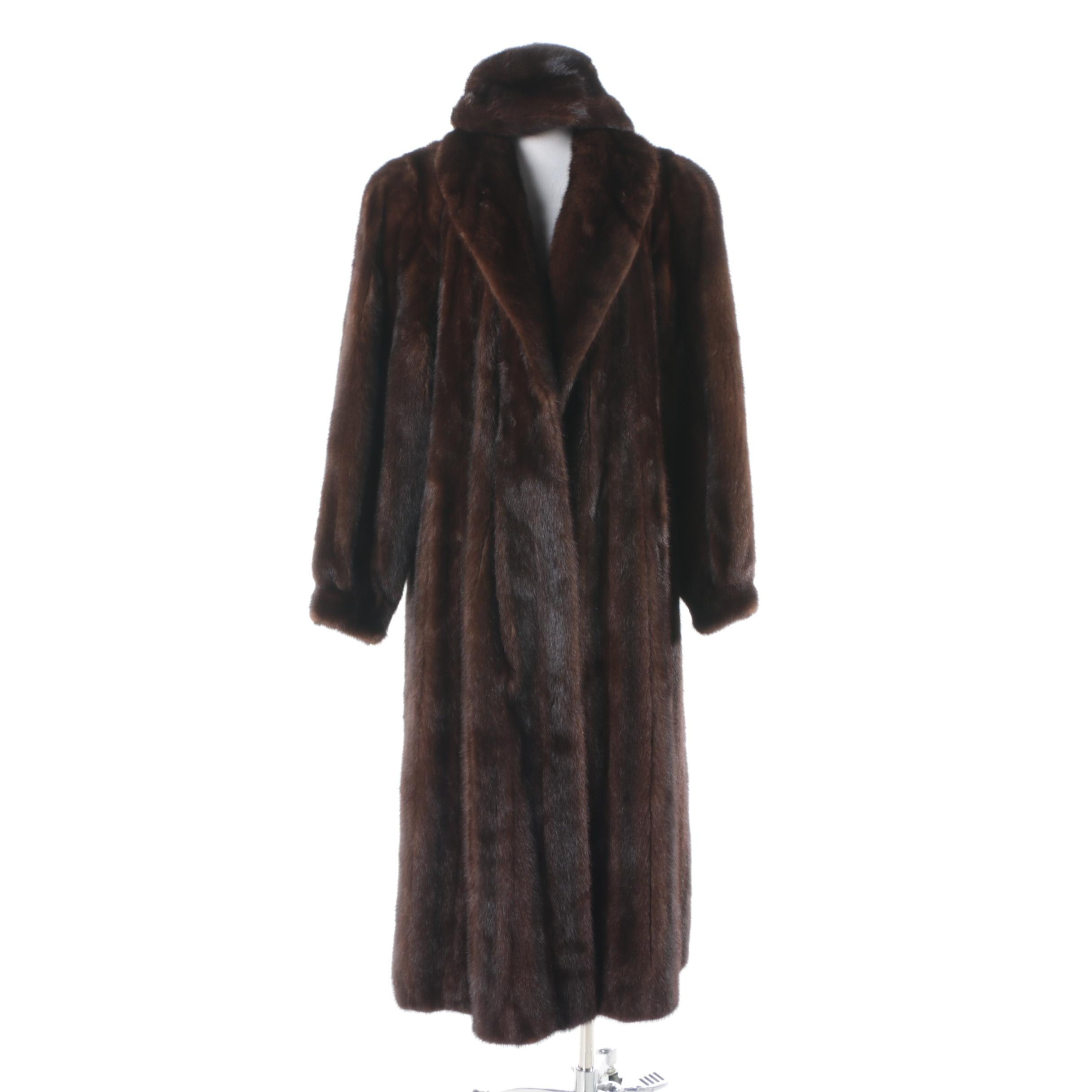 Women's Evans Furs Dark Brown Mink Fur Coat and Andre Hat