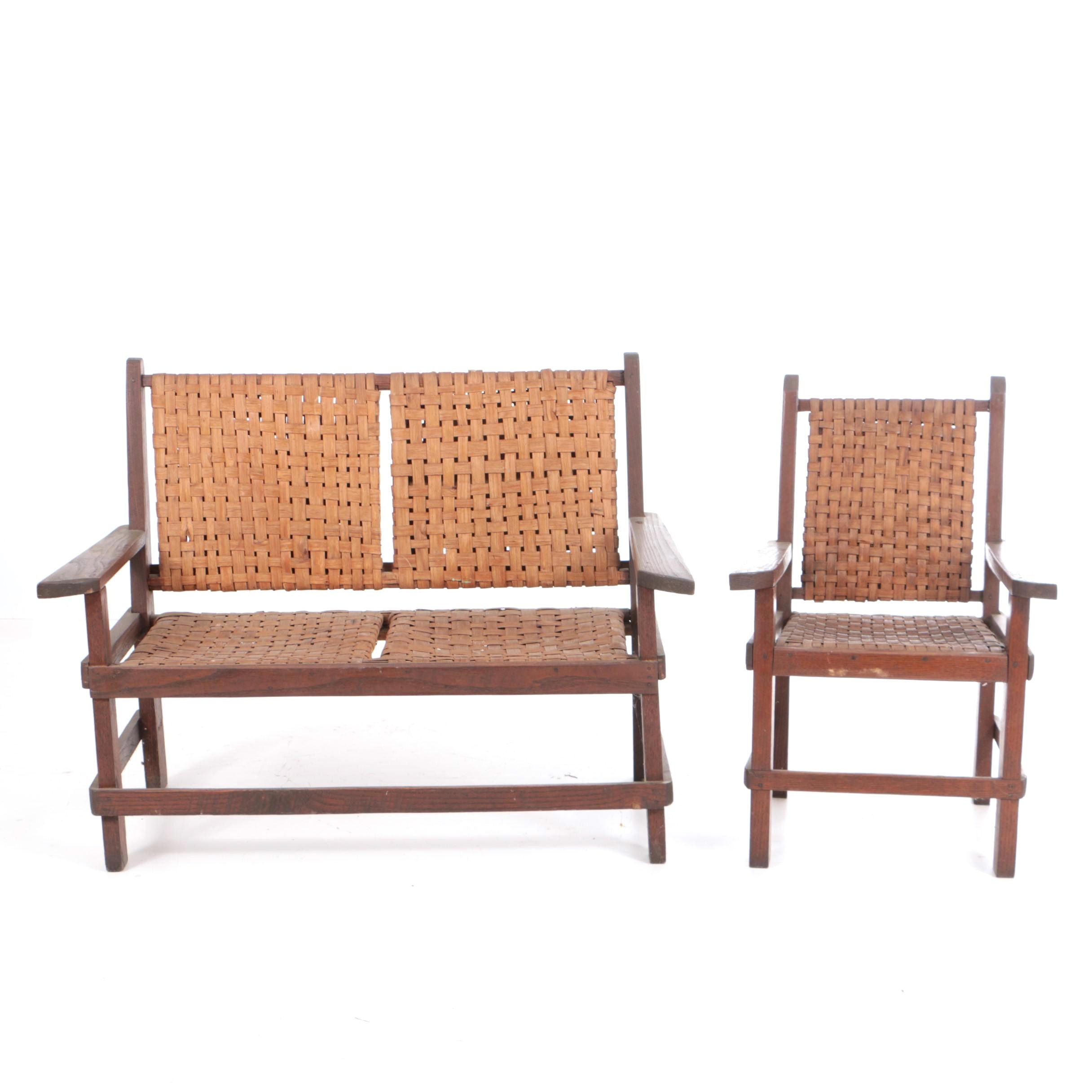 Vintage Oak Settee and Armchair with Splint-Woven Backs and Seats