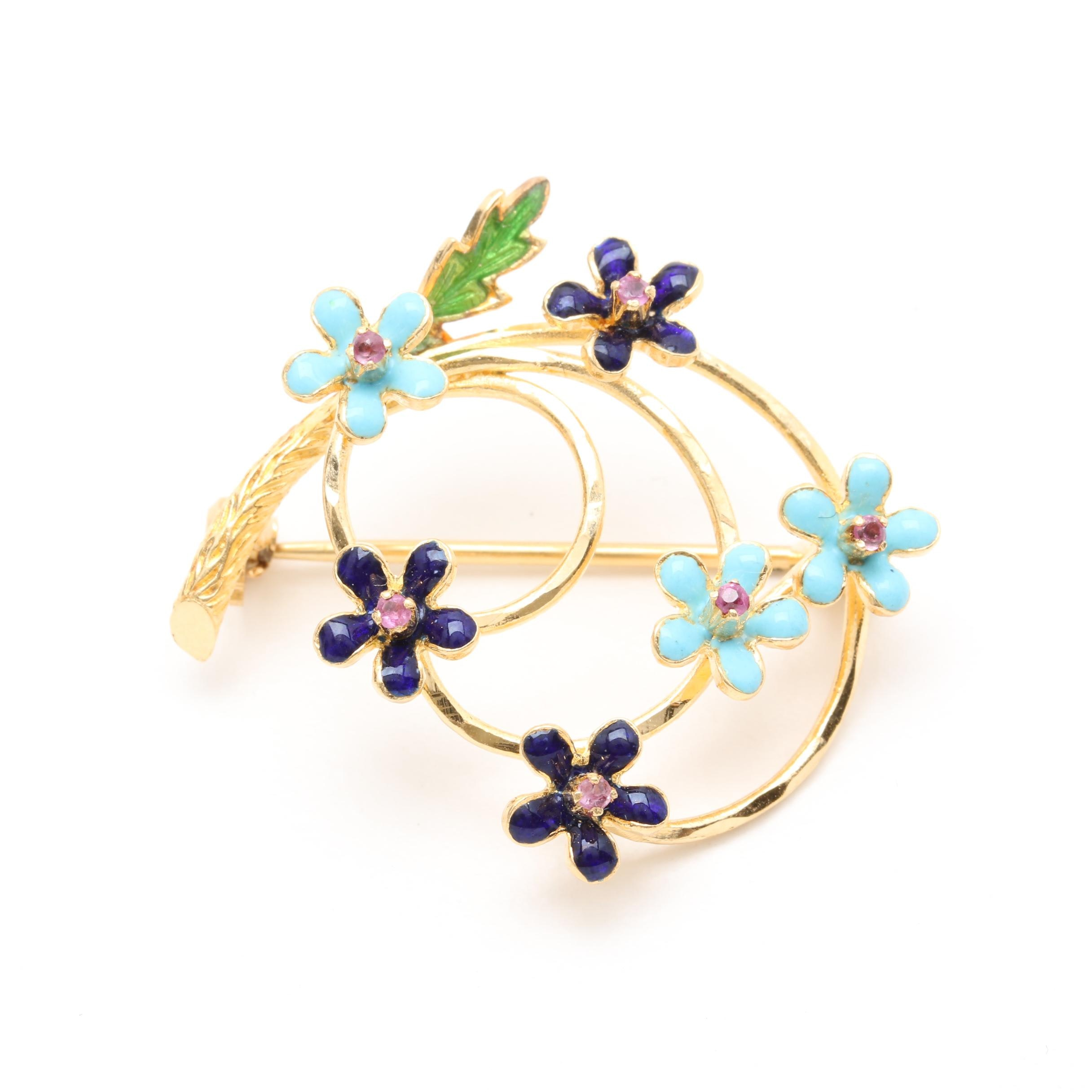 18K Yellow Gold Ruby and Enamel Floral Brooch
