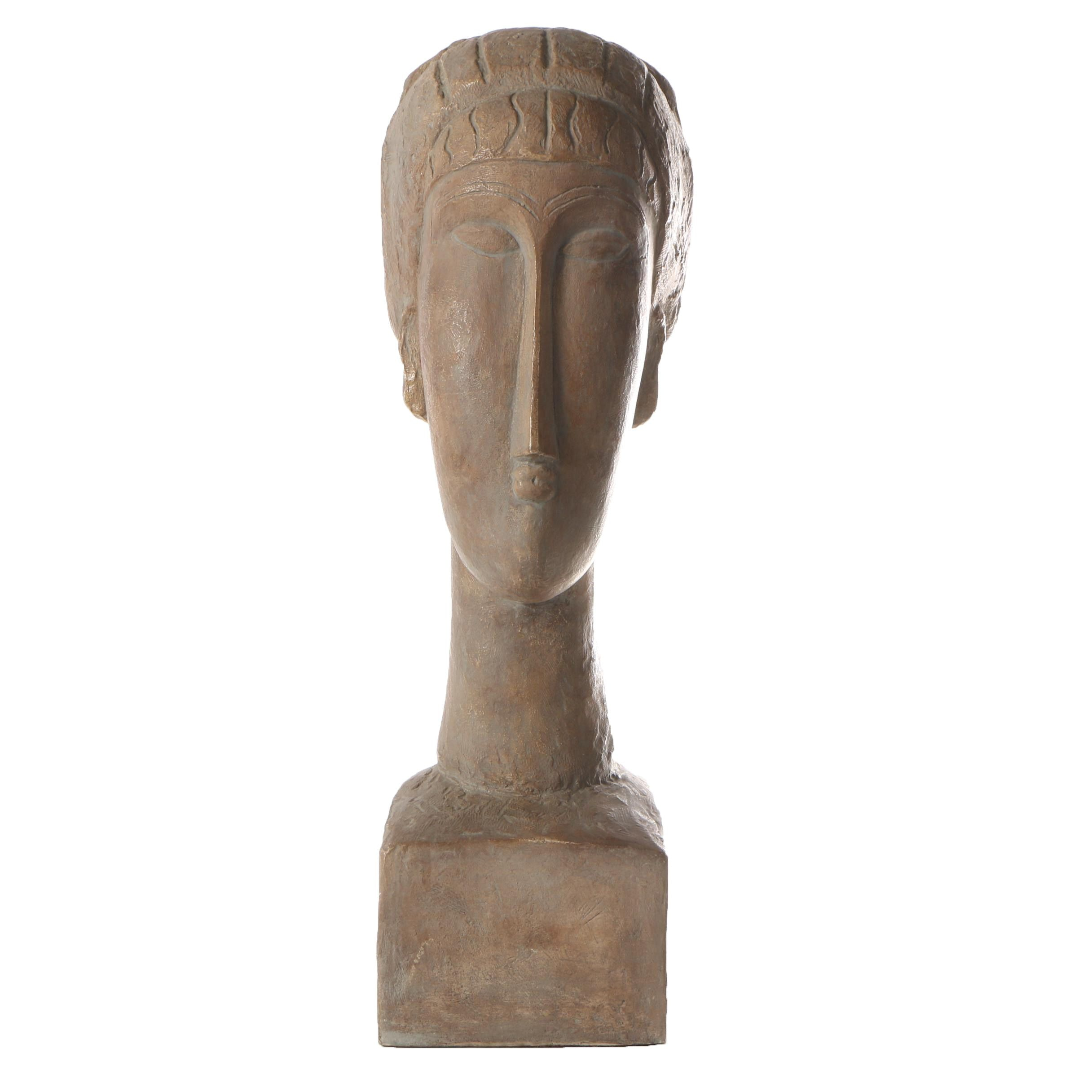 """Austin Productions Ceramic Sculpture After Amedeo Modigliani """"Head of a Woman"""""""