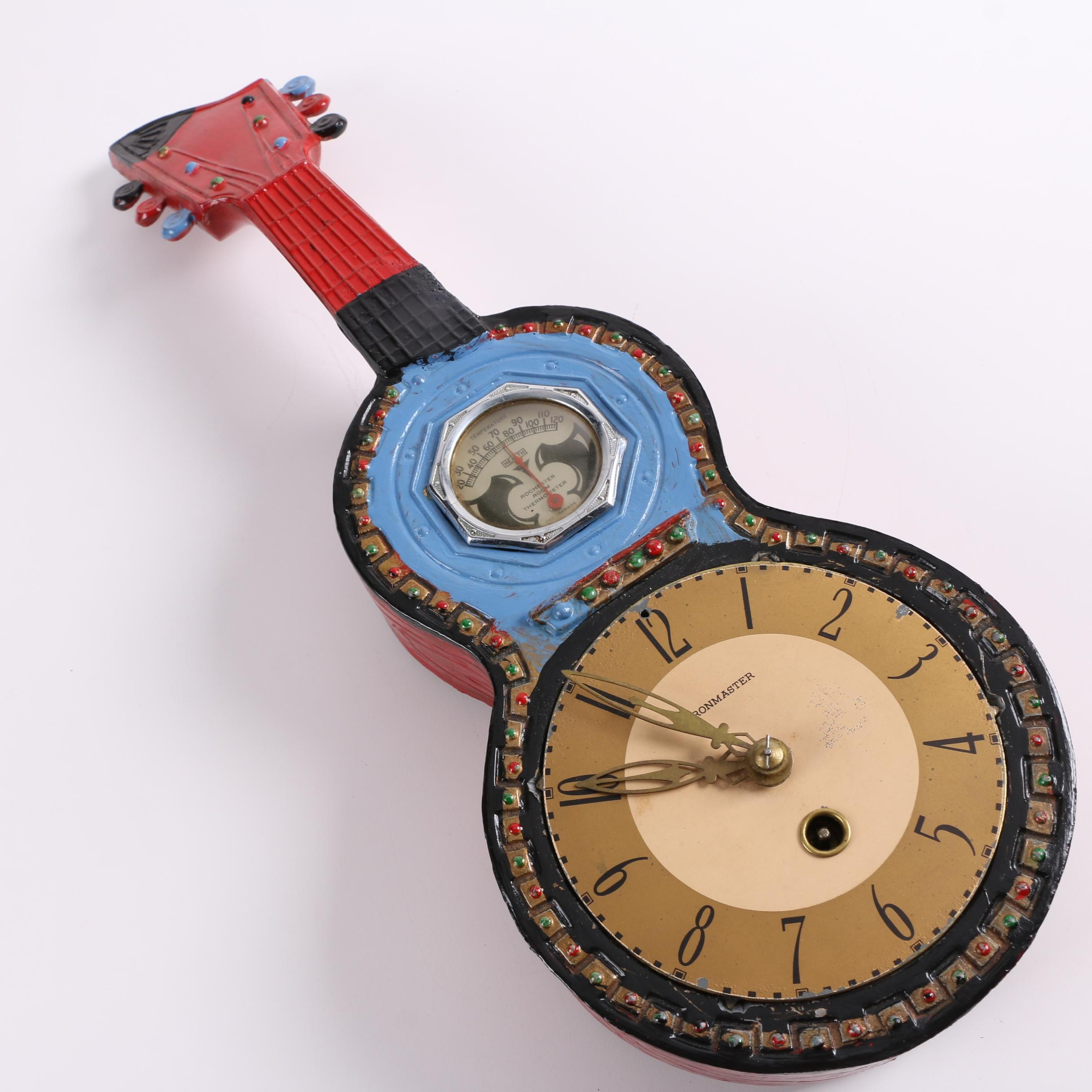 Chronmaster Guitar-Shaped Dual Clock and Thermometer