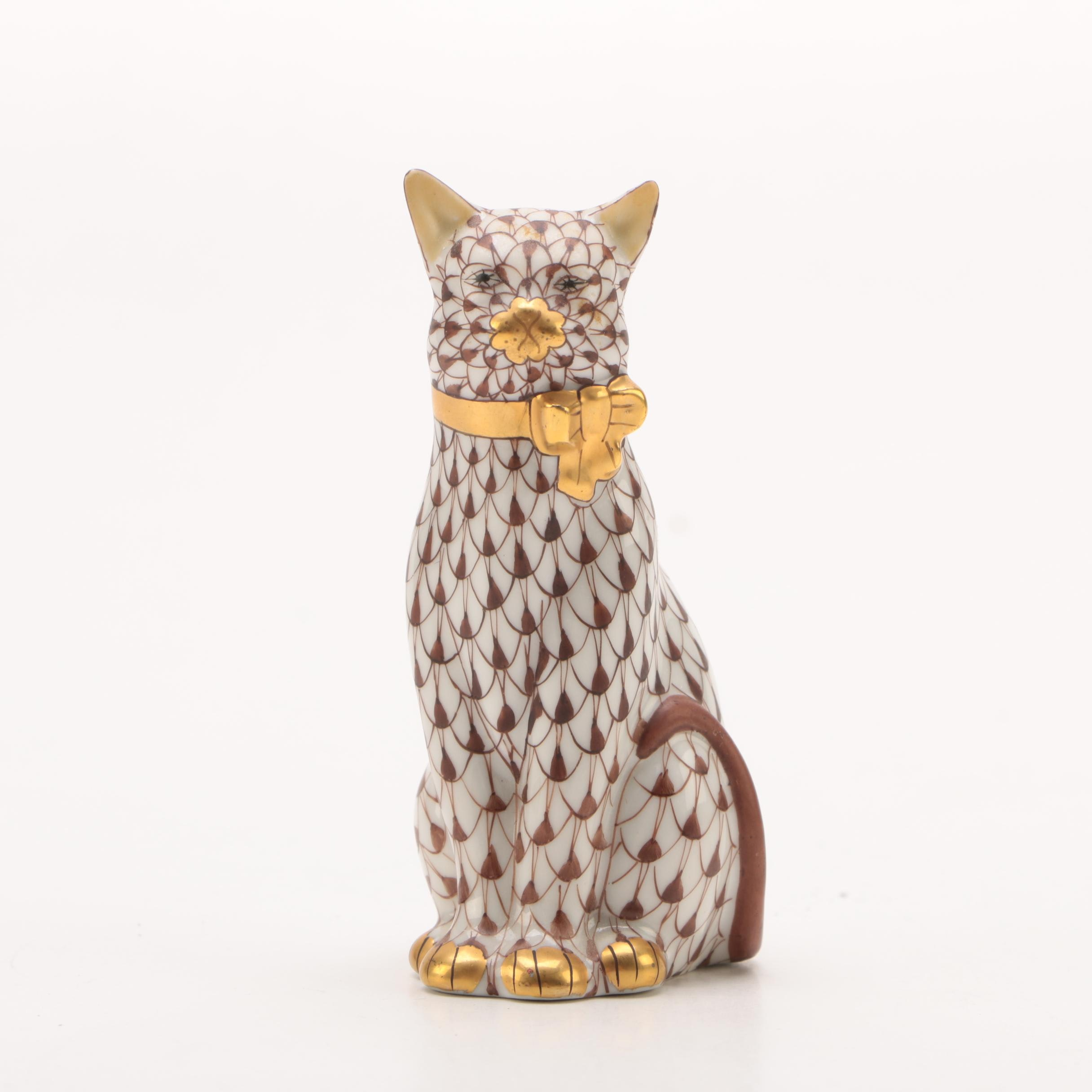 "Herend First Edition ""Cat with Bow"" Porcelain Figurine"