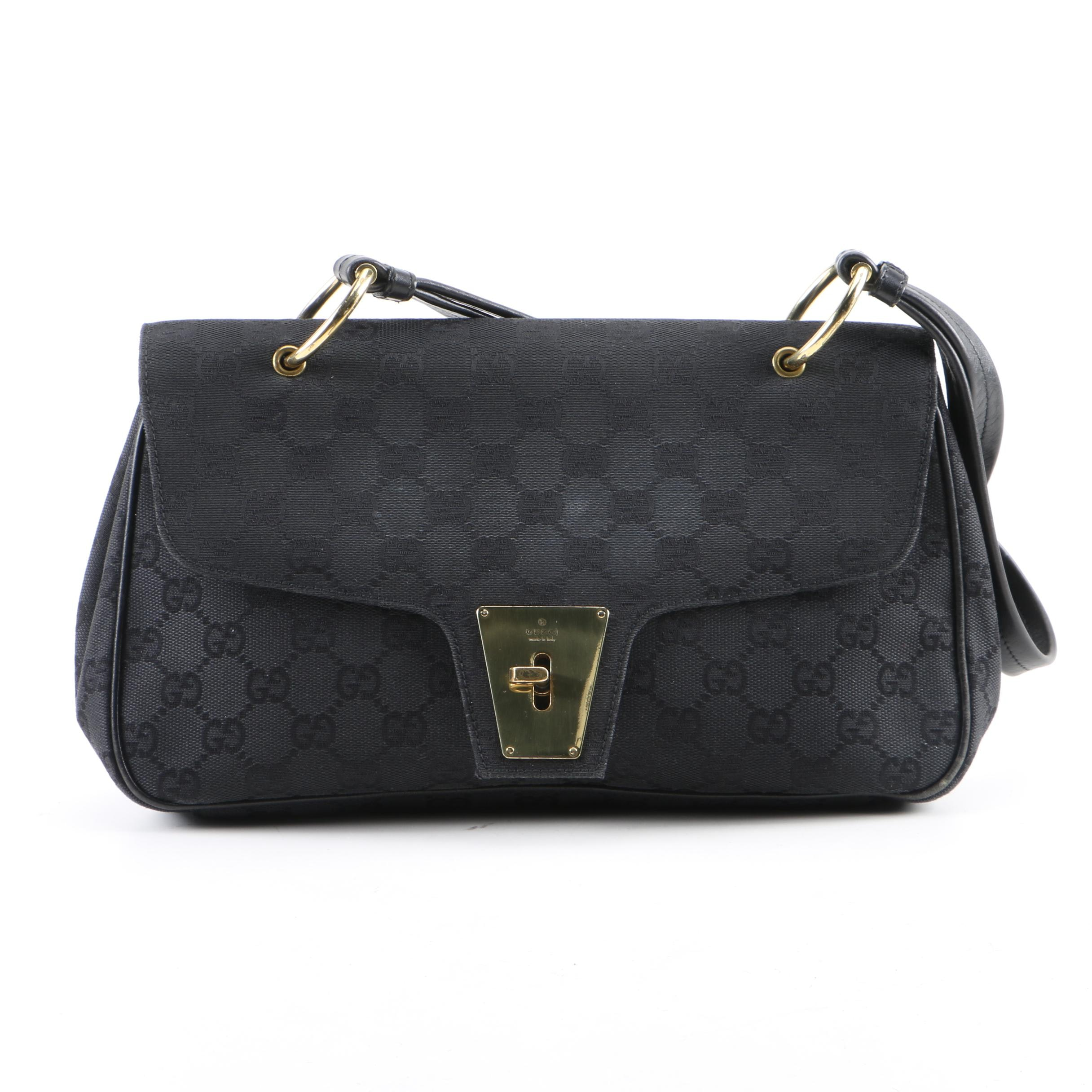 Gucci GG Black Canvas and Leather Handbag