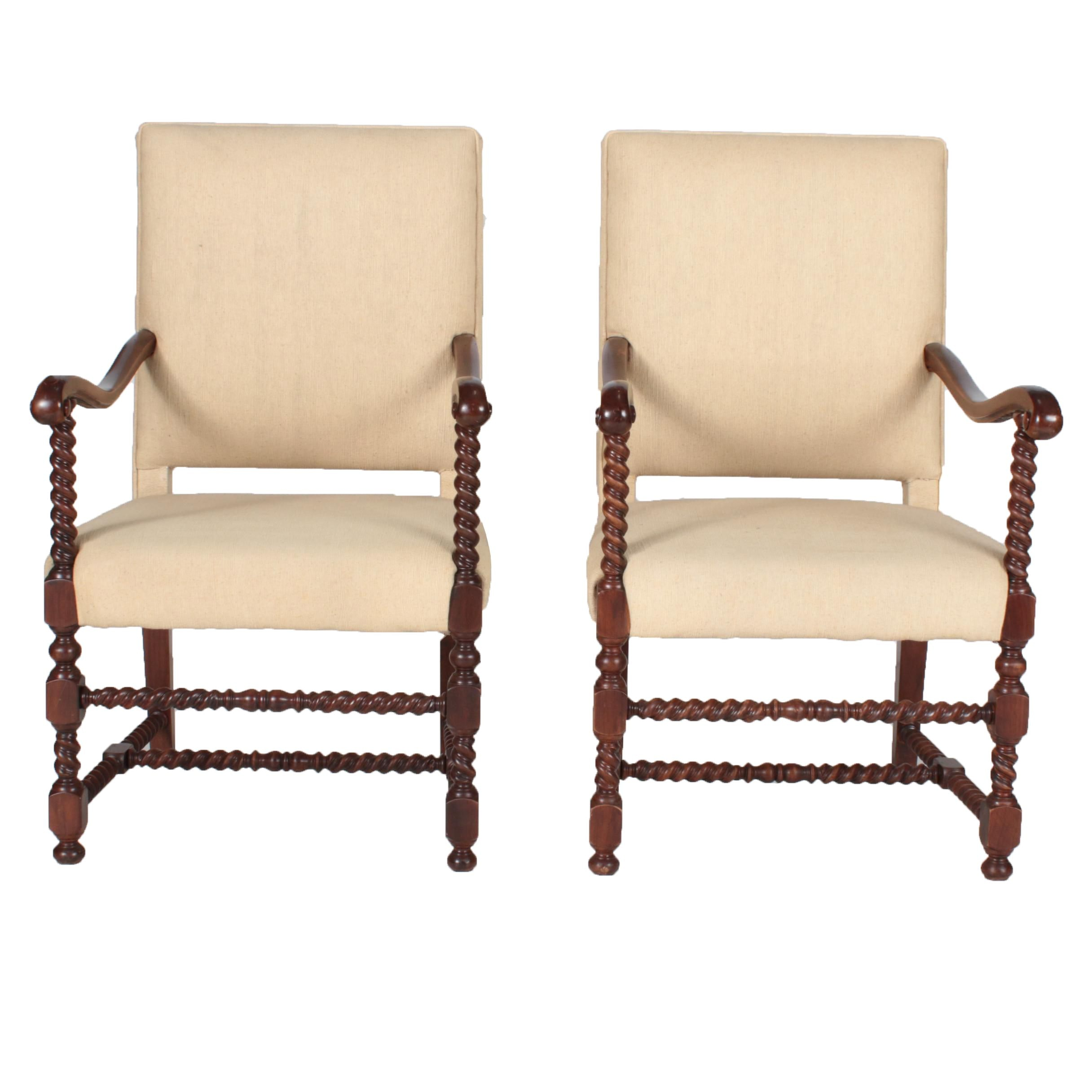 Pair of Vintage Tudor Style Carved Mahogany Open Armchairs