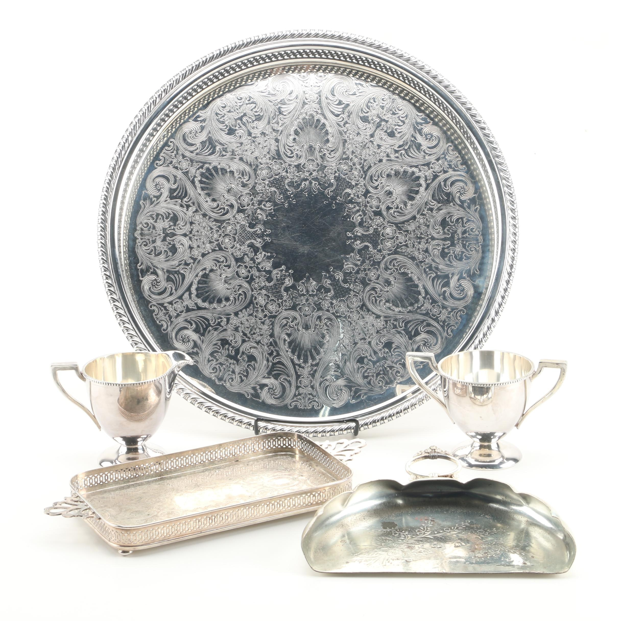 Wm. Rogers and Crescent Gallery Trays with Other Silver Plate Serveware
