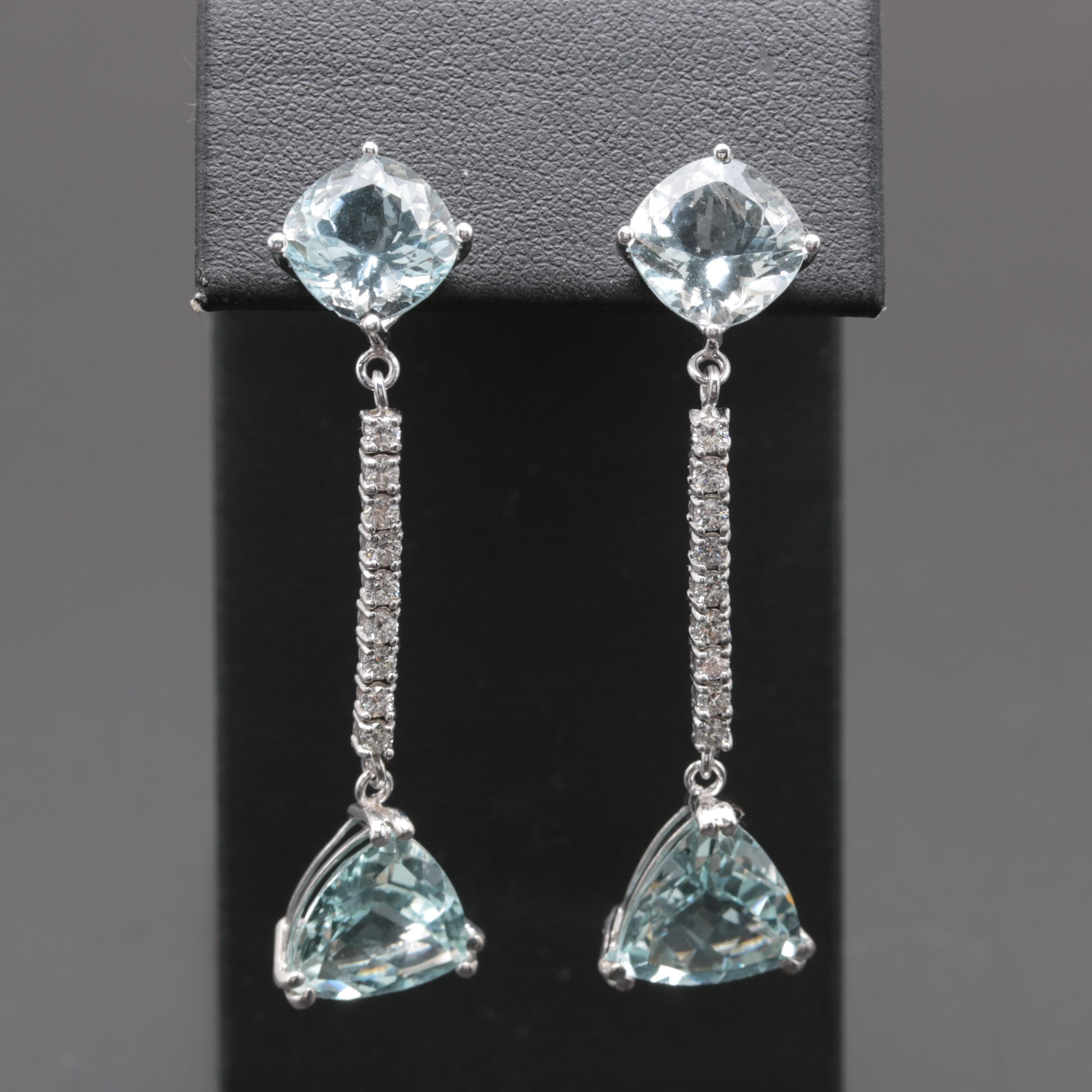 14K White Gold Aquamarine and Diamond Drop Earrings