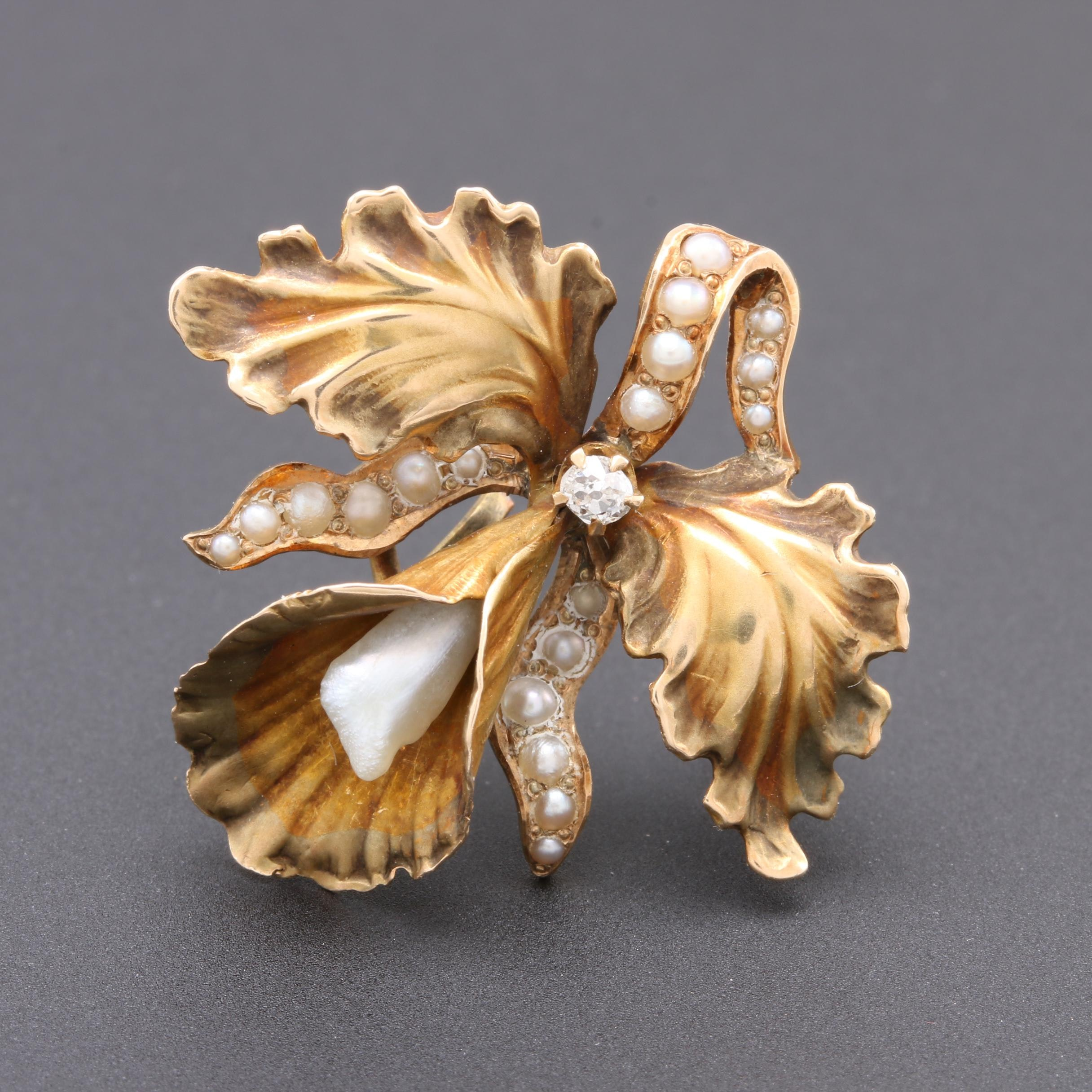 Arts & Crafts 14K Yellow Gold Pearl and Diamond Brooch