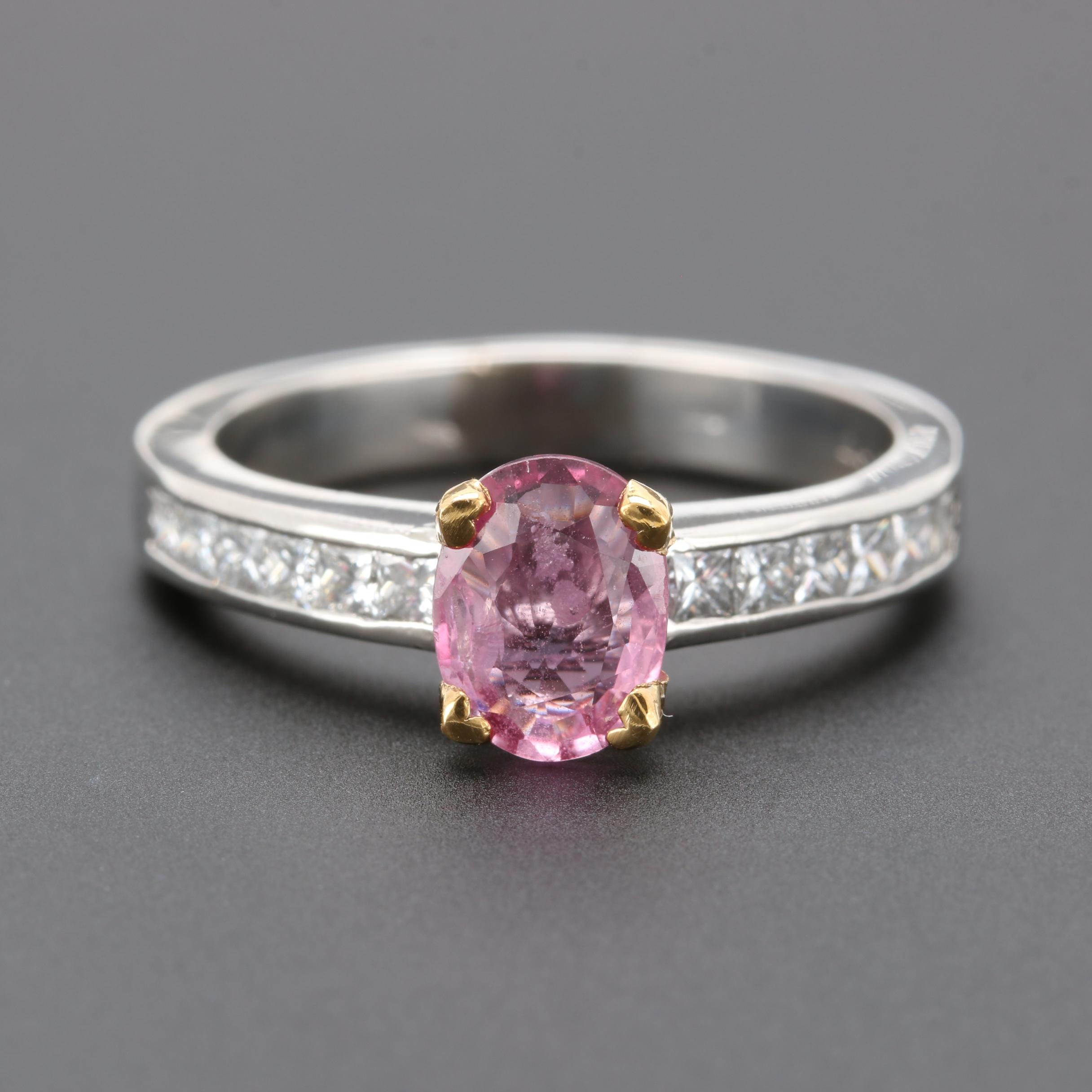 Platinum Pink Sapphire and Diamond Ring with Gold Plated Accents