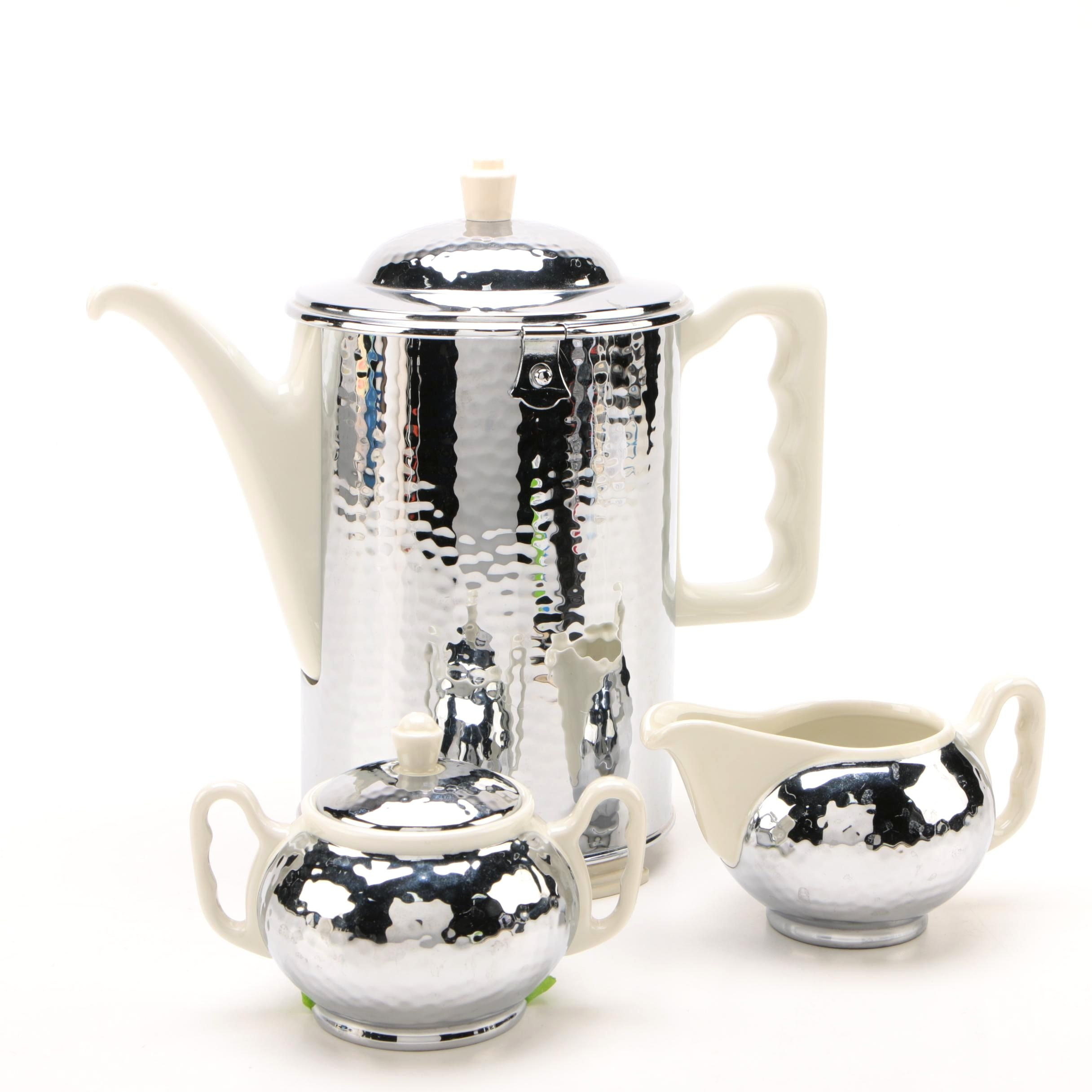 Art Deco Thermisol German Hammered Chrome and Porcelain Coffee Set