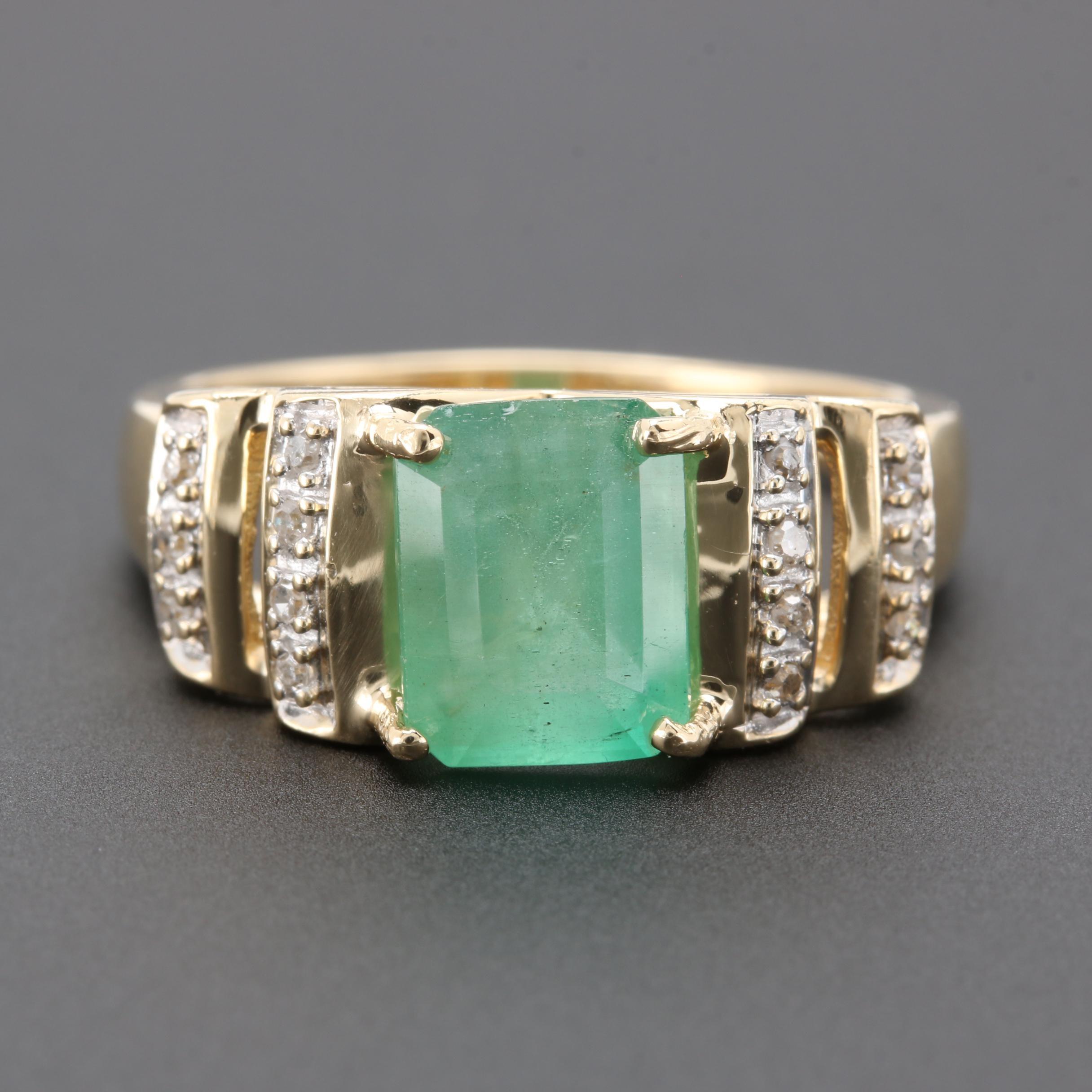 14K Yellow Gold 2.34 CT Emerald and Diamond Ring
