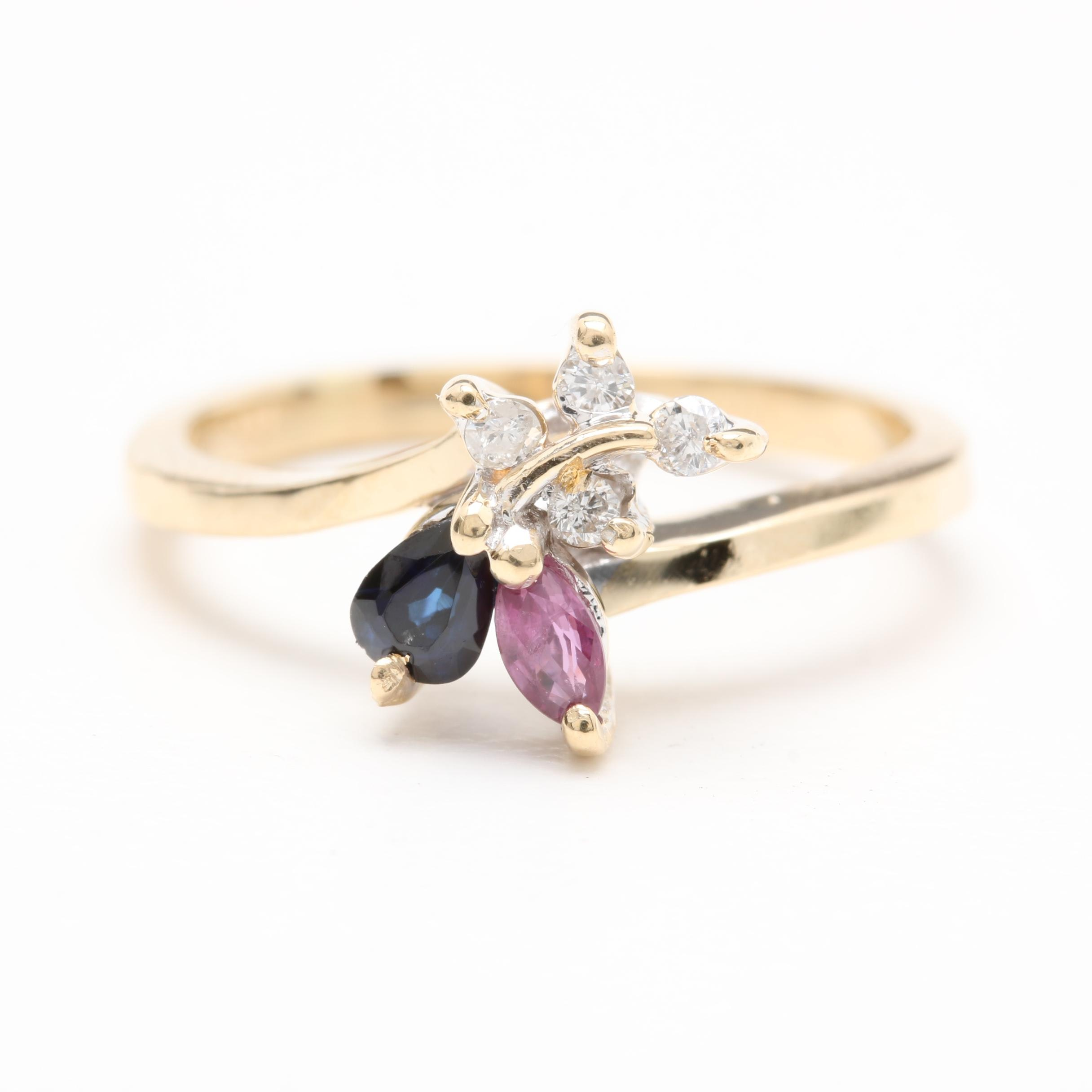 14K Yellow Gold Ruby, Sapphire and Diamond Ring