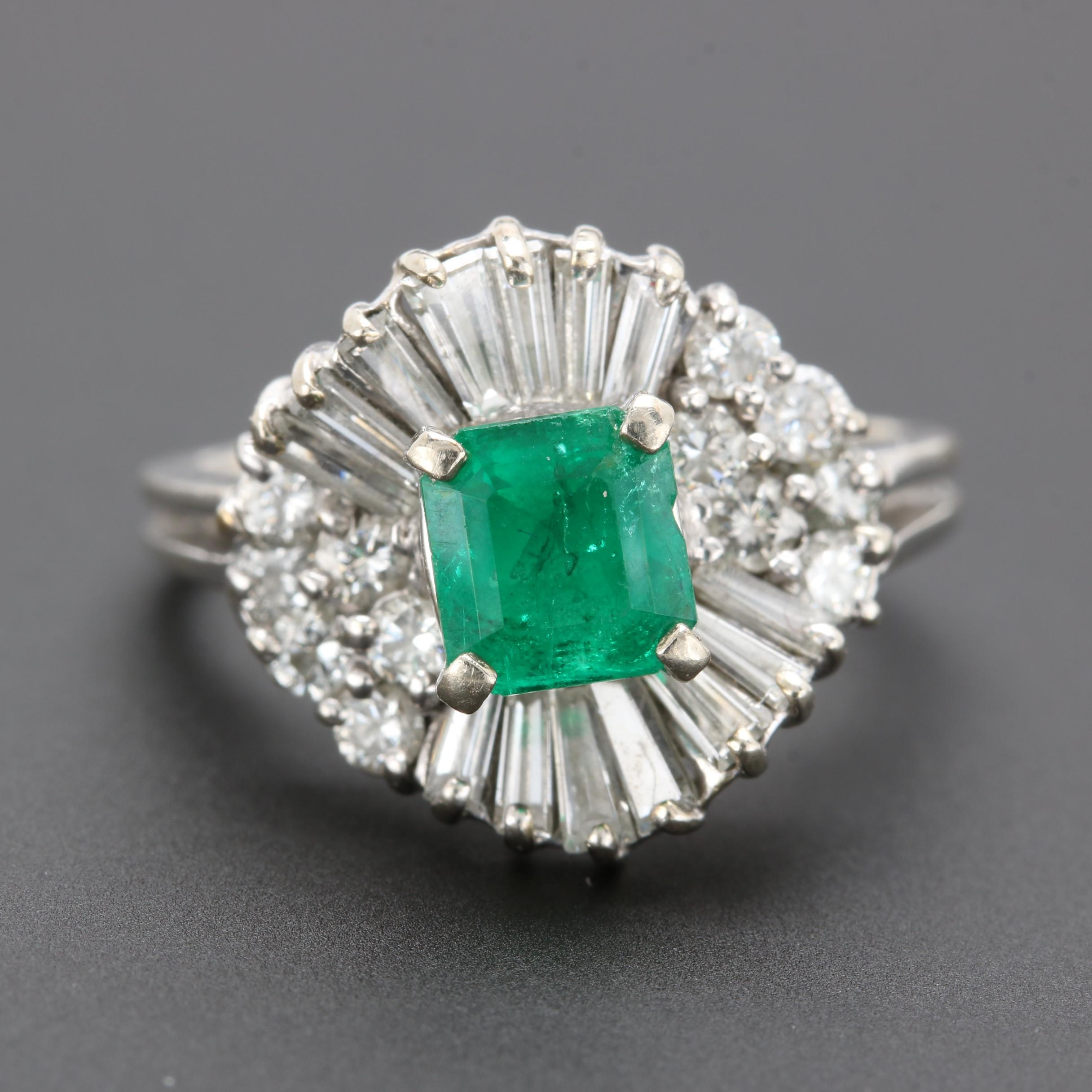 14K and 18K White Gold Emerald and 1.27 CTW Diamond Ring