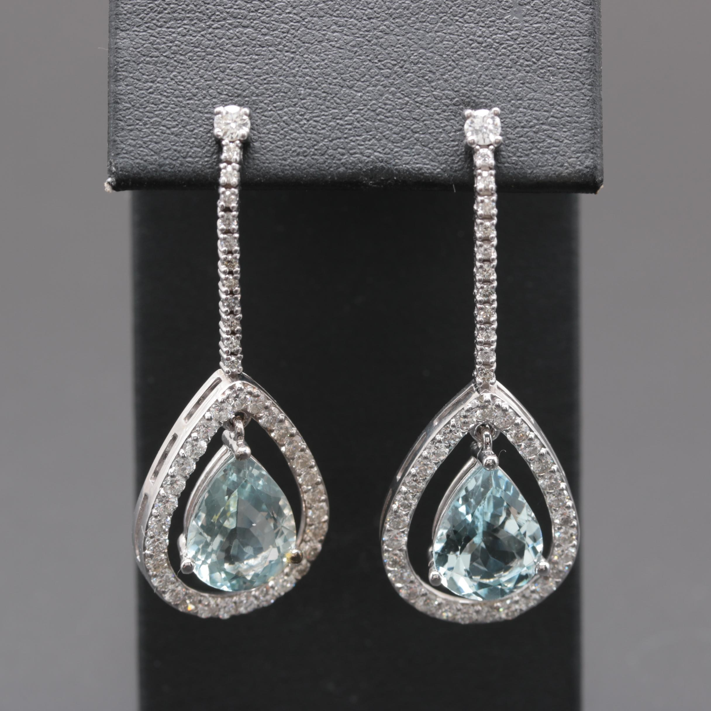 14K White Gold 5.58 CTW Aquamarine and 1.90 CTW Diamond Earrings
