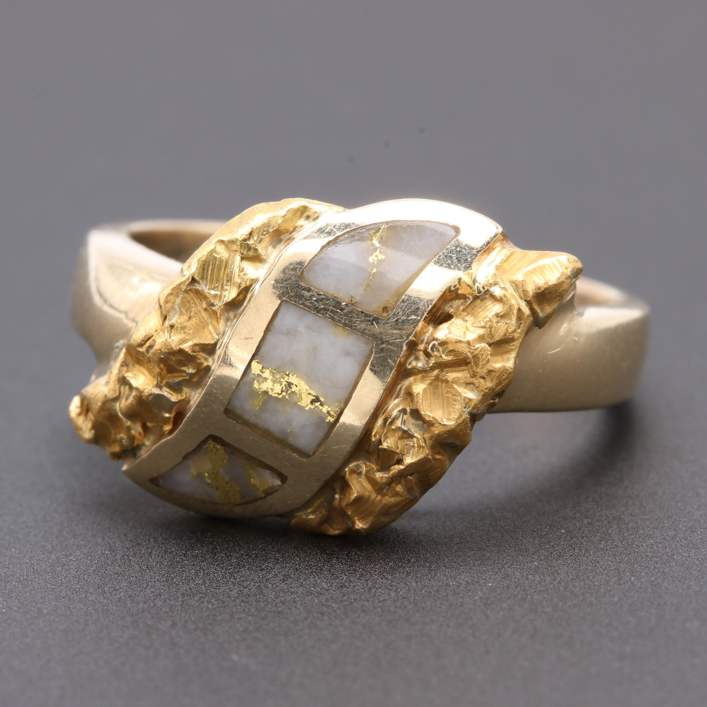 14K and 18K Yellow Gold Native Gold in Quartz Ring