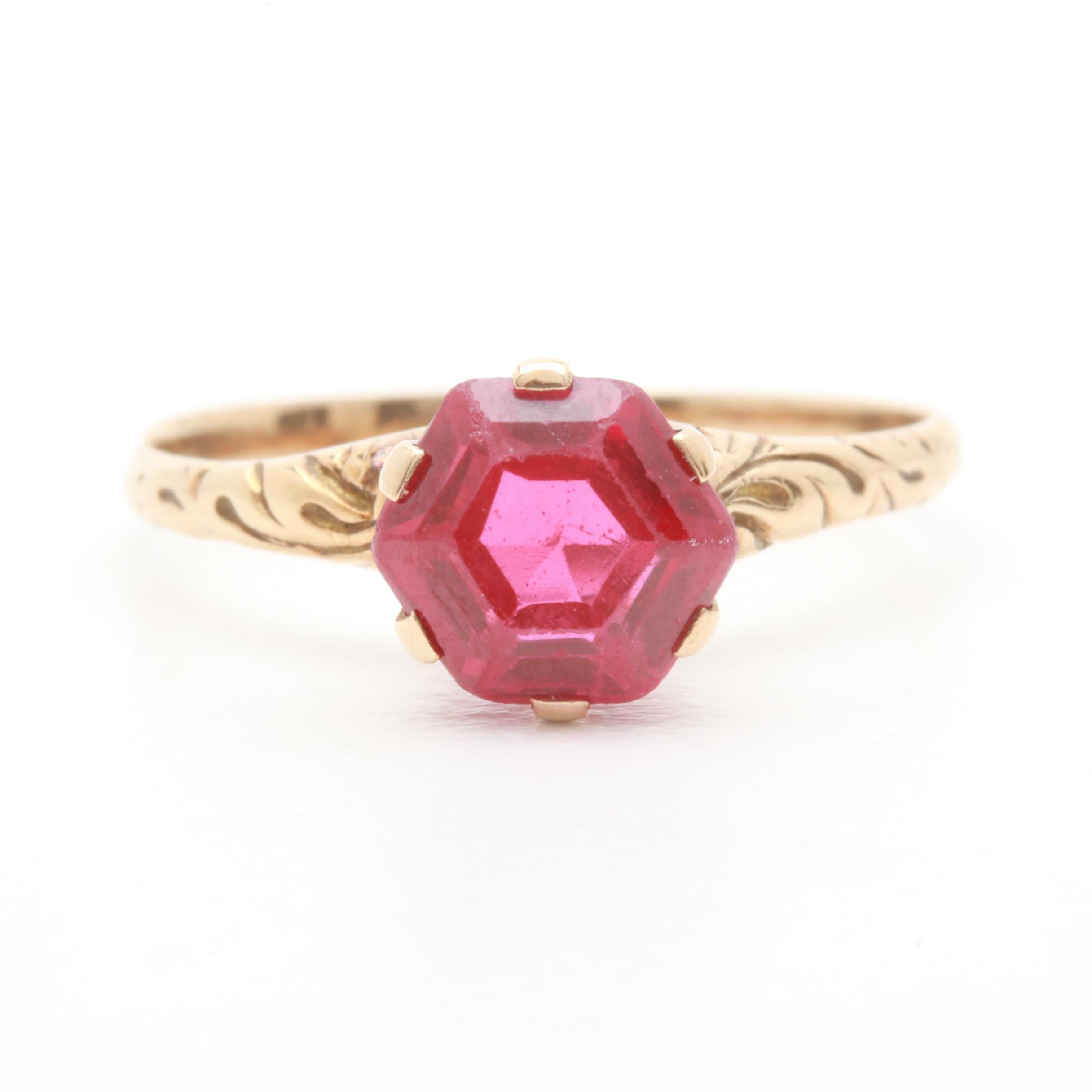 Victorian 10K Yellow Gold Synthetic Ruby Solitaire Ring