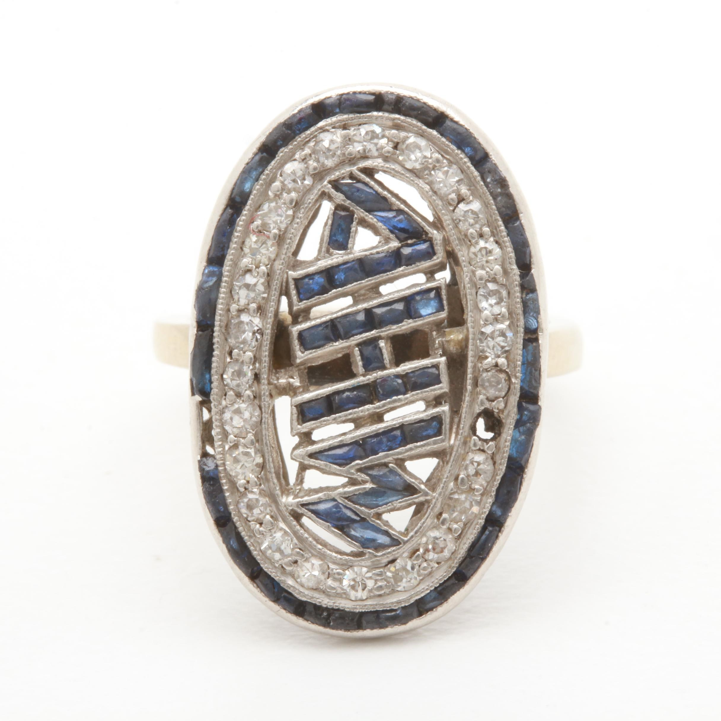 14K White Gold and Platinum Diamond and Synthetic Sapphire Ring
