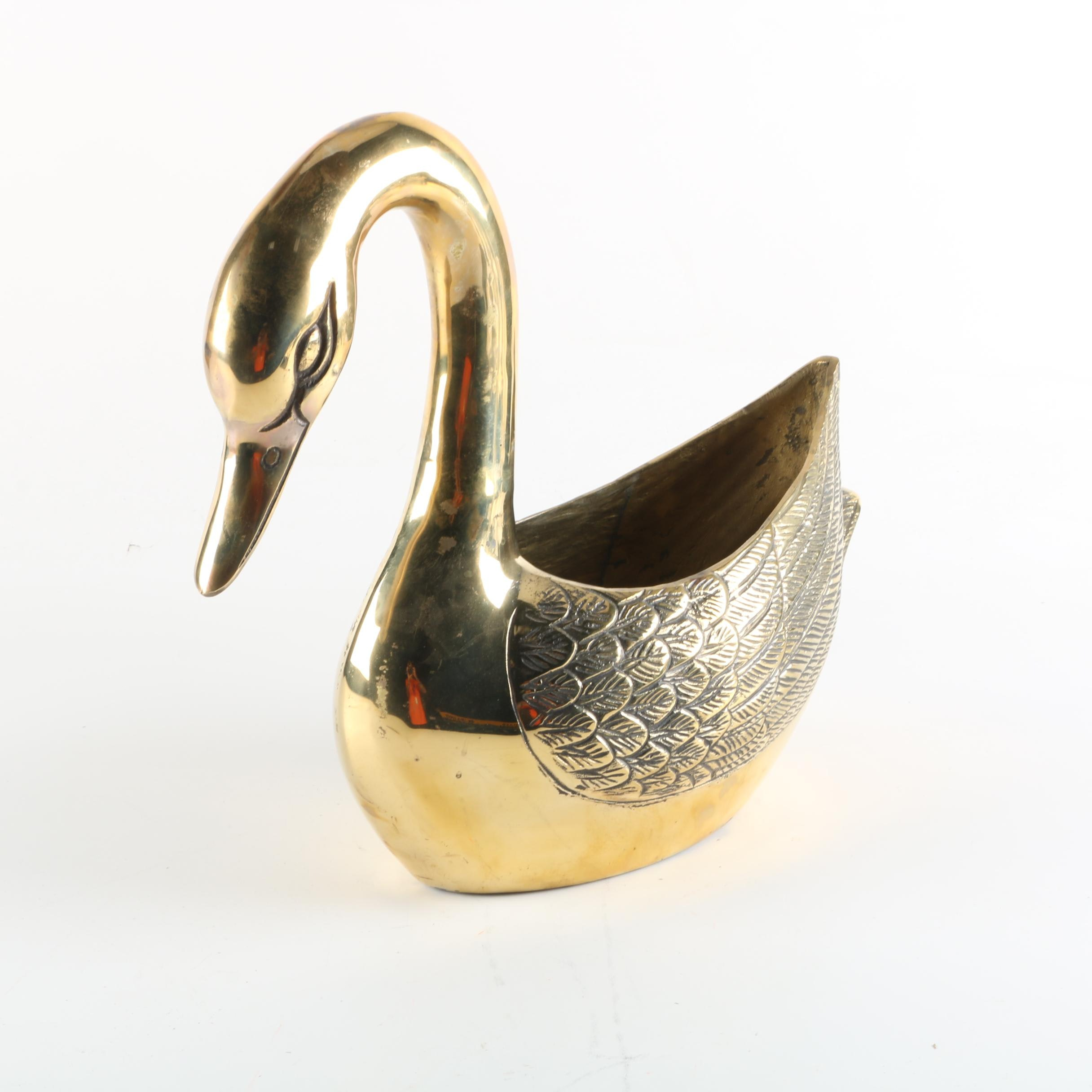 Brass Finished Metal Figurative Swan Planter