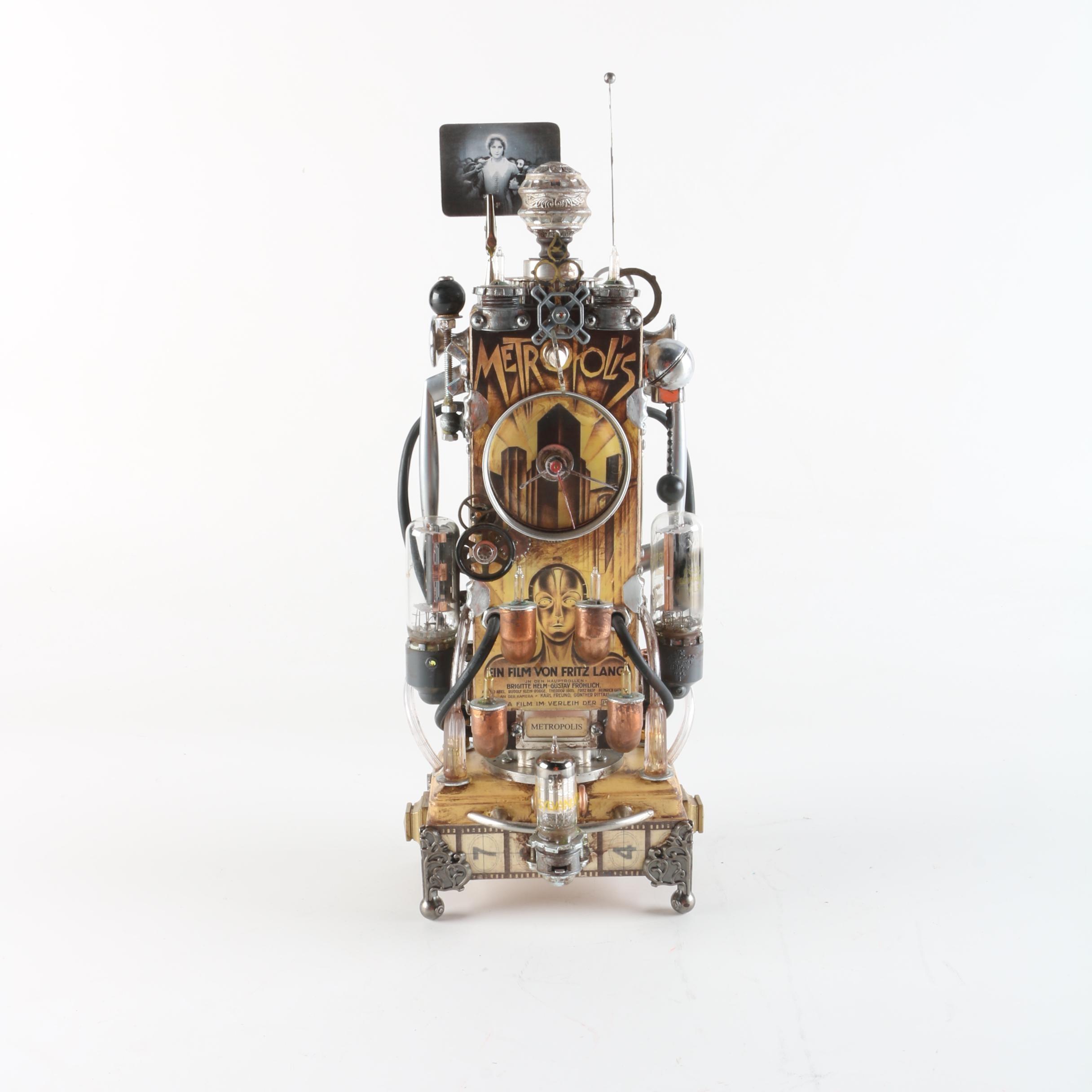 "Randy Mulder ""Metropolis II"" Steampunk Style ""Time Machine"" Sculptural Clock"