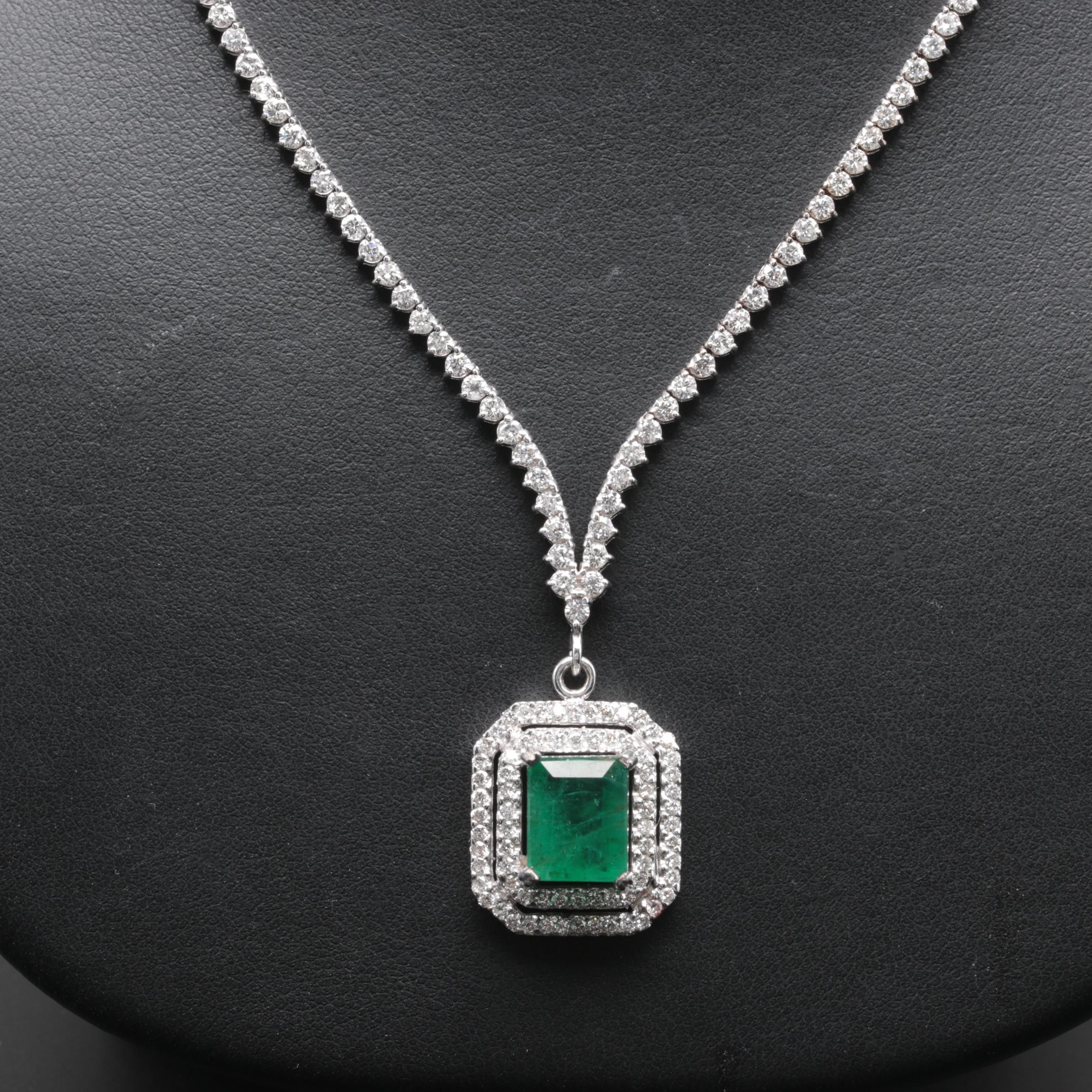 14K and 18K White Gold 3.51 CT Emerald and 3.69 CTW Diamond Necklace