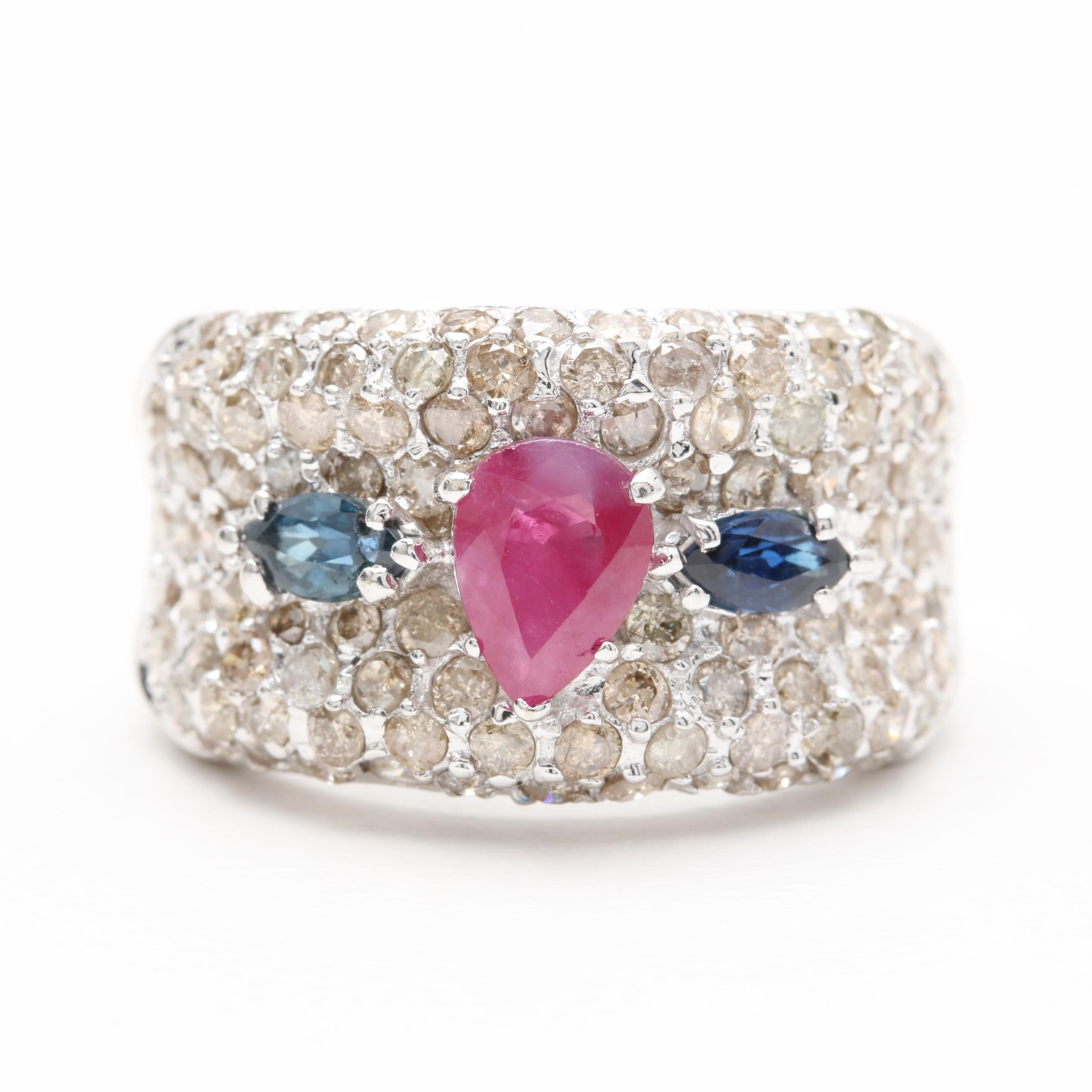 18K White Gold Ruby, Blue Sapphire and 2.00 CTW Diamond Ring