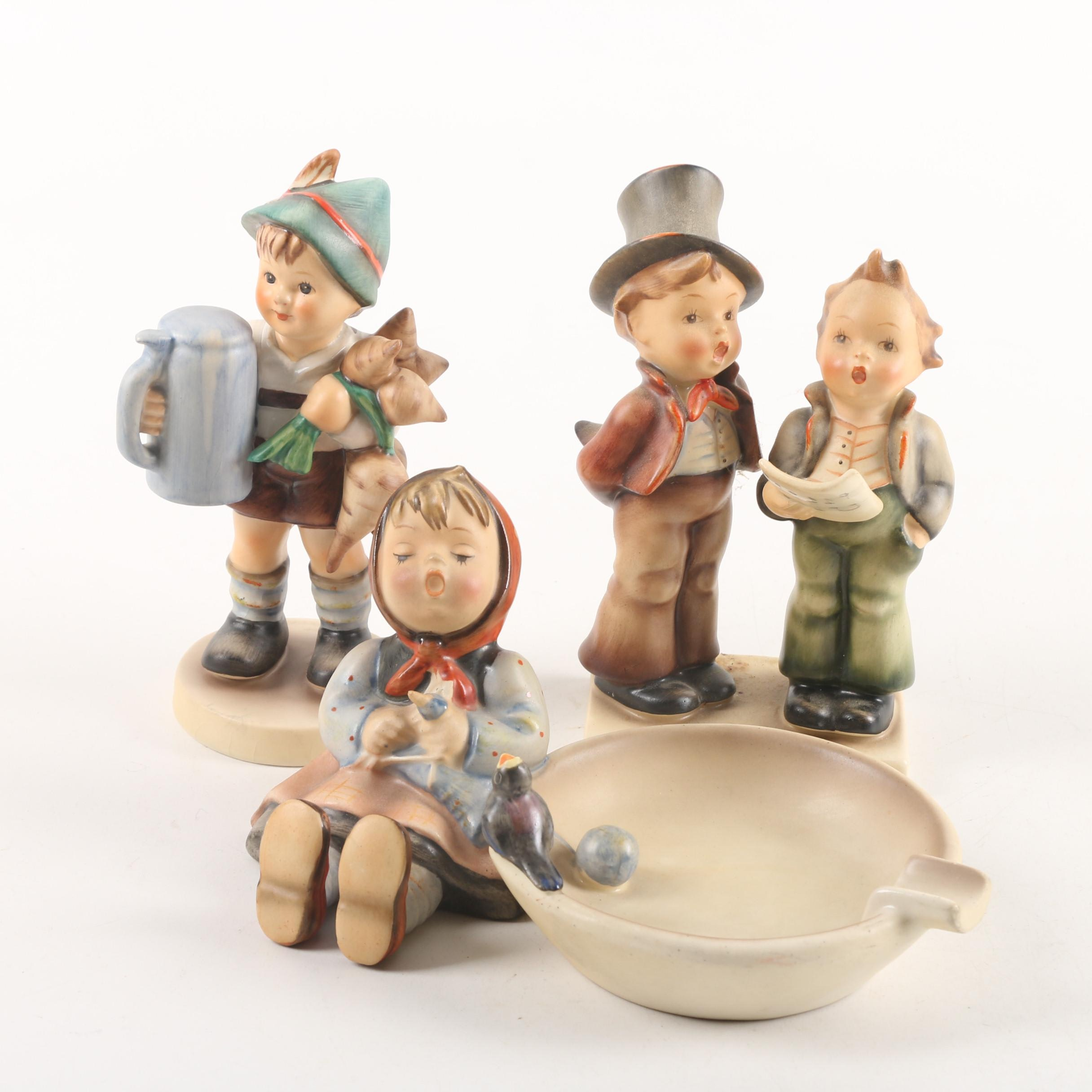 """1950s Hummel Figurines """"For Father"""", """"Duet"""" and """"Happy Pastime"""" Ash Receiver"""