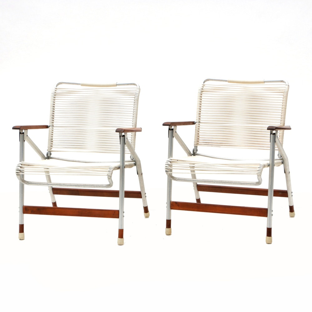 "Pair of Folding Aluminum ""String"" Lawn Chairs"