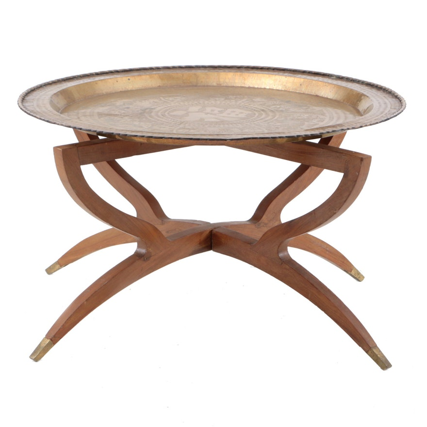 Chinese Engraved Brass Tray Coffee Table Ebth