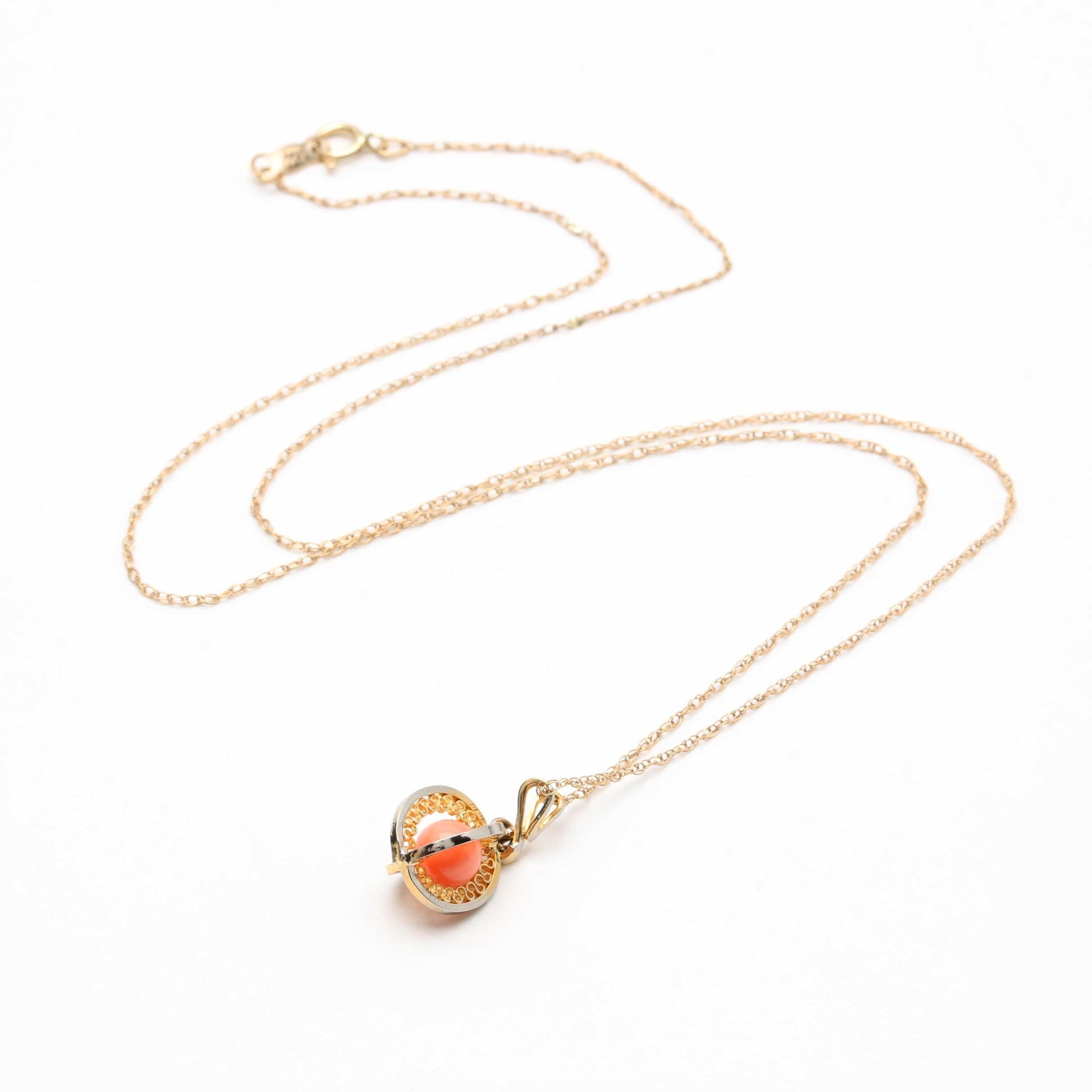 14K Yellow Gold Chain Necklace with Gold Tone Coral Bead Pendant