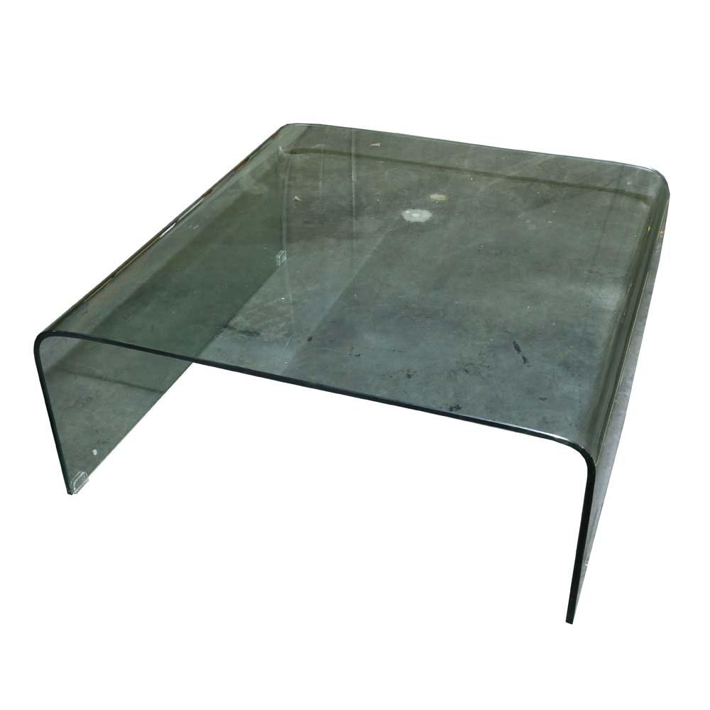 Modern Glass Waterfall Coffee Table
