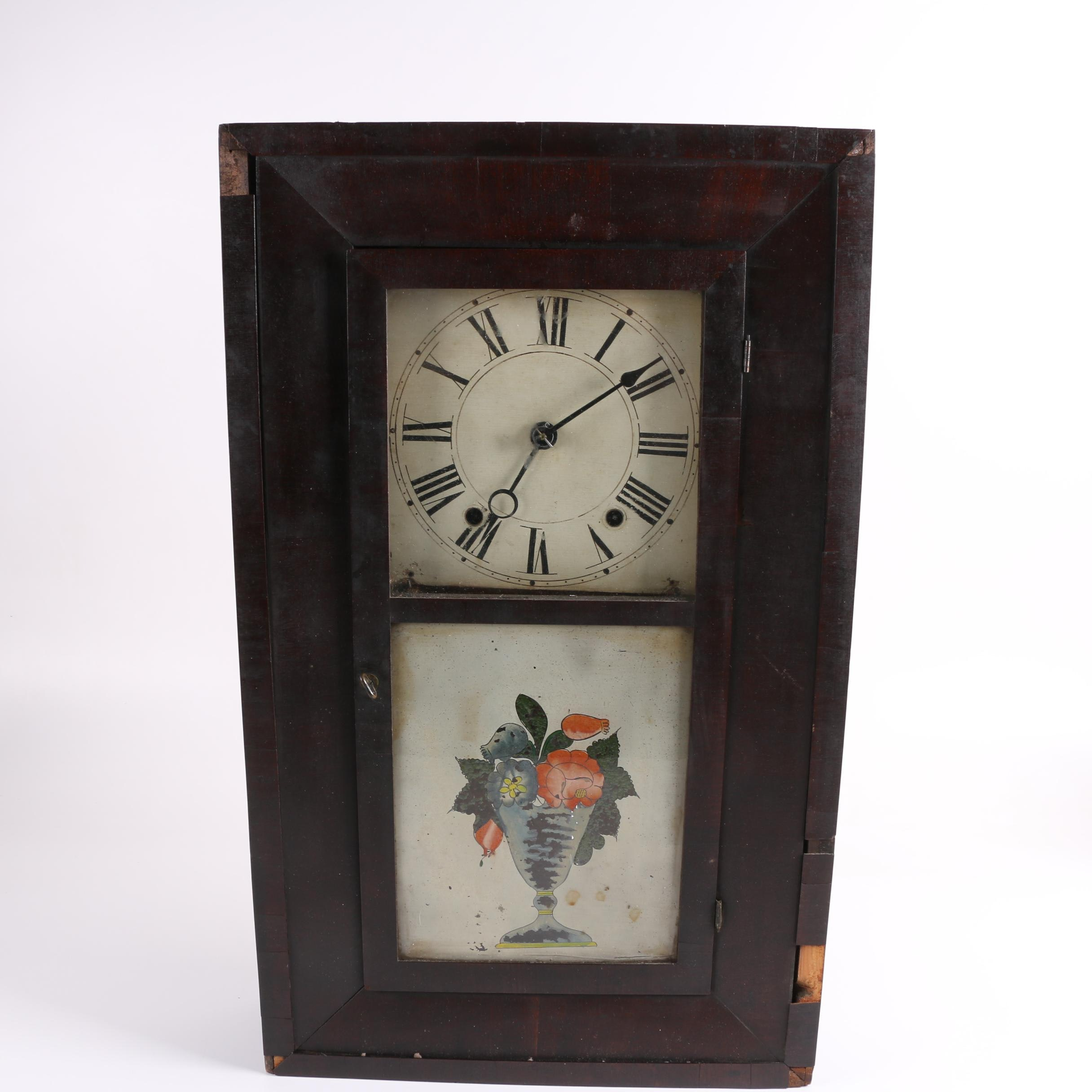 Antique Henry C. Smith Shelf Clock with Reverse Painted Decoration C. 1811-70