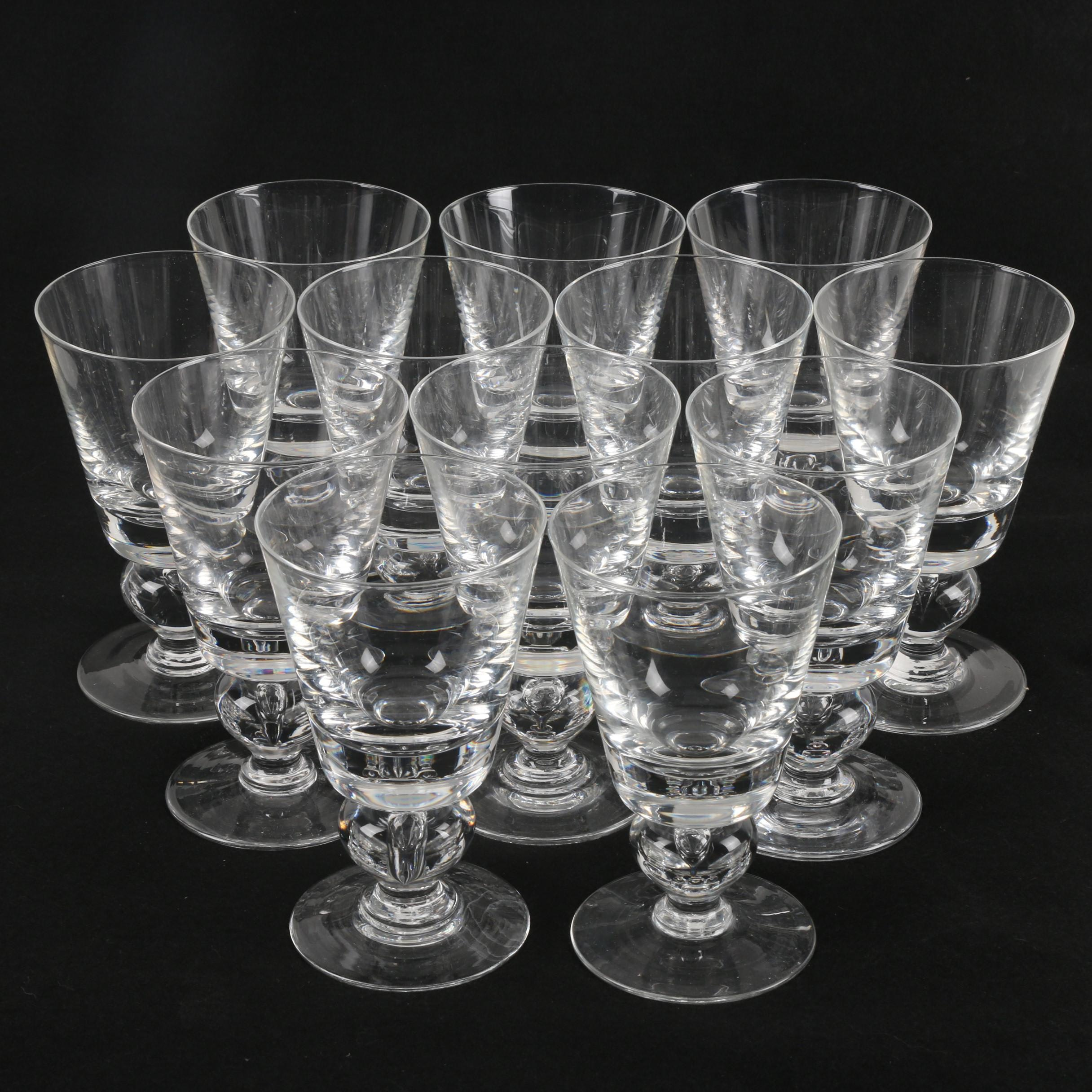 "Mid-Century Val St. Lambert ""Empire"" Crystal Water Goblets C. 1956-62"