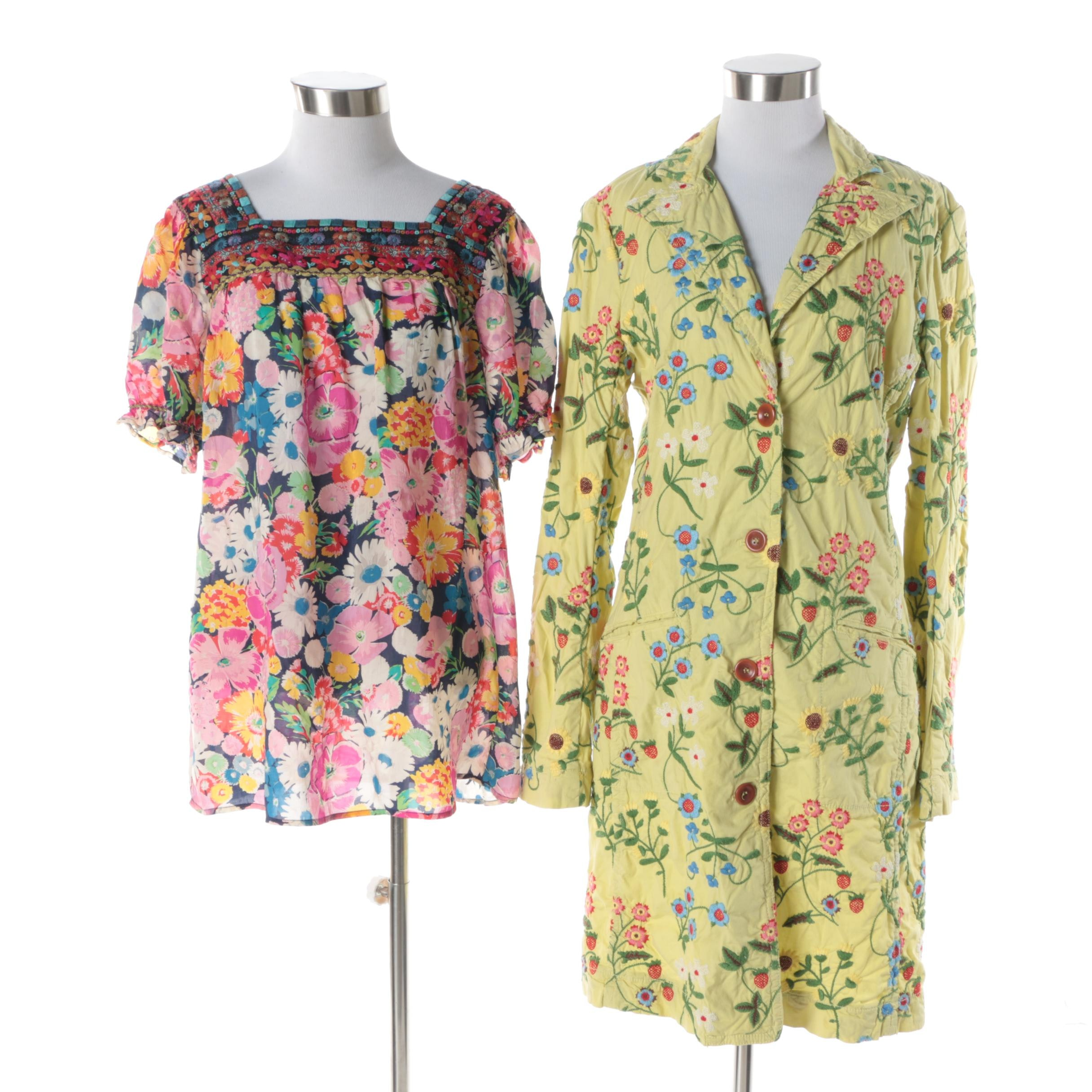 Women's Johnny Was Floral Embroidered Cotton Jacket and Tunic