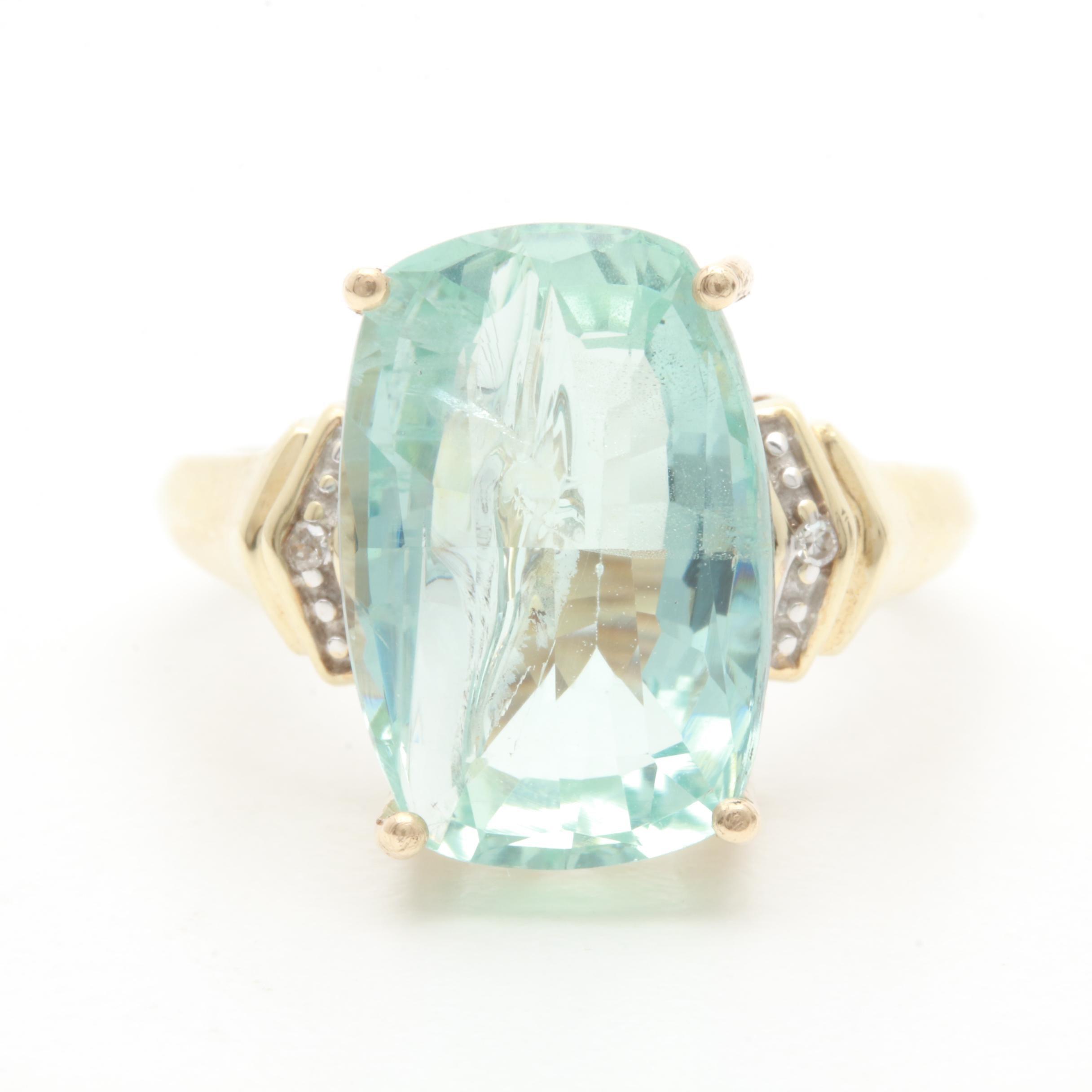 10K Yellow Gold 6.92 CT Aquamarine and Diamond Ring