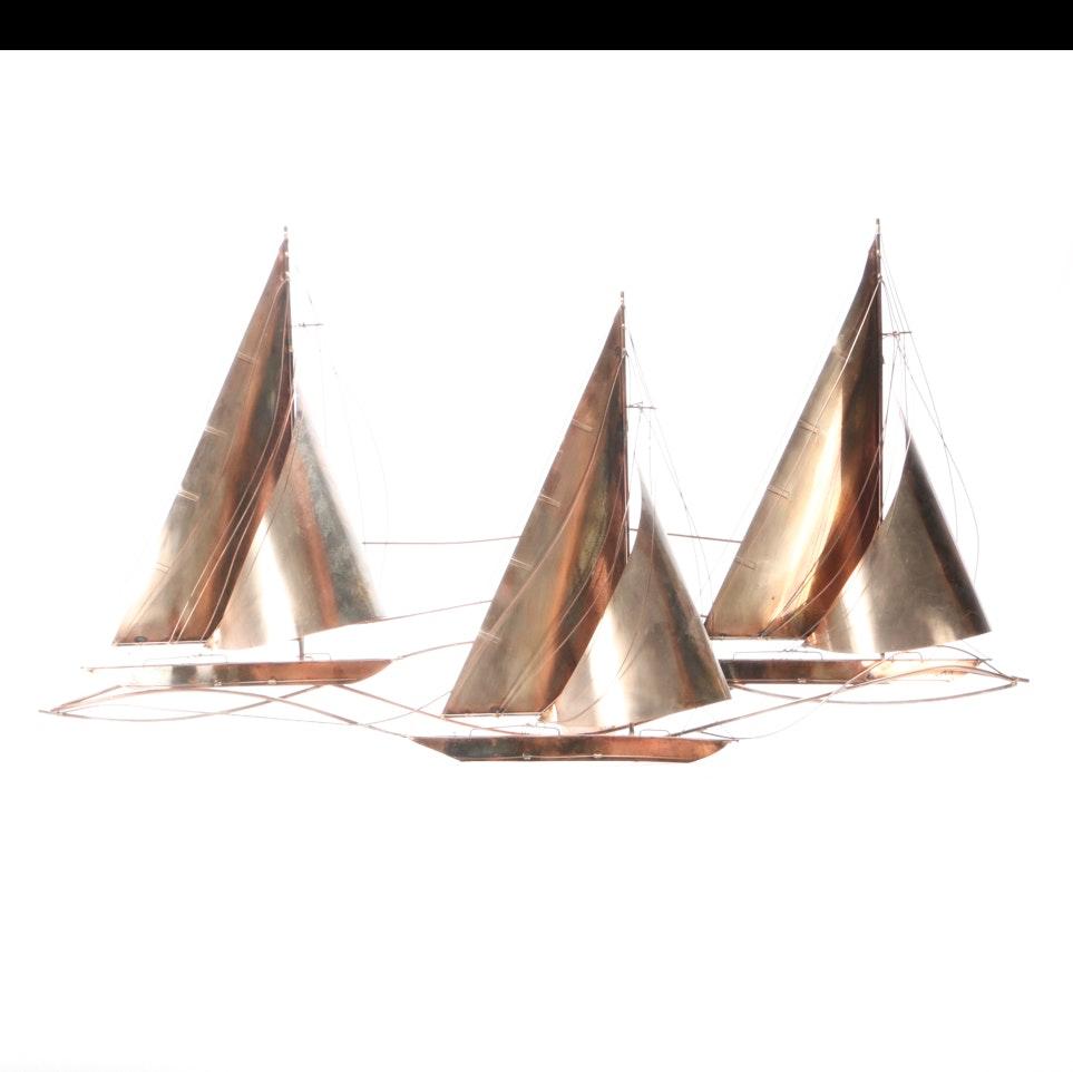 Curtis Jeré Signed Sailing Regatta Sculpture