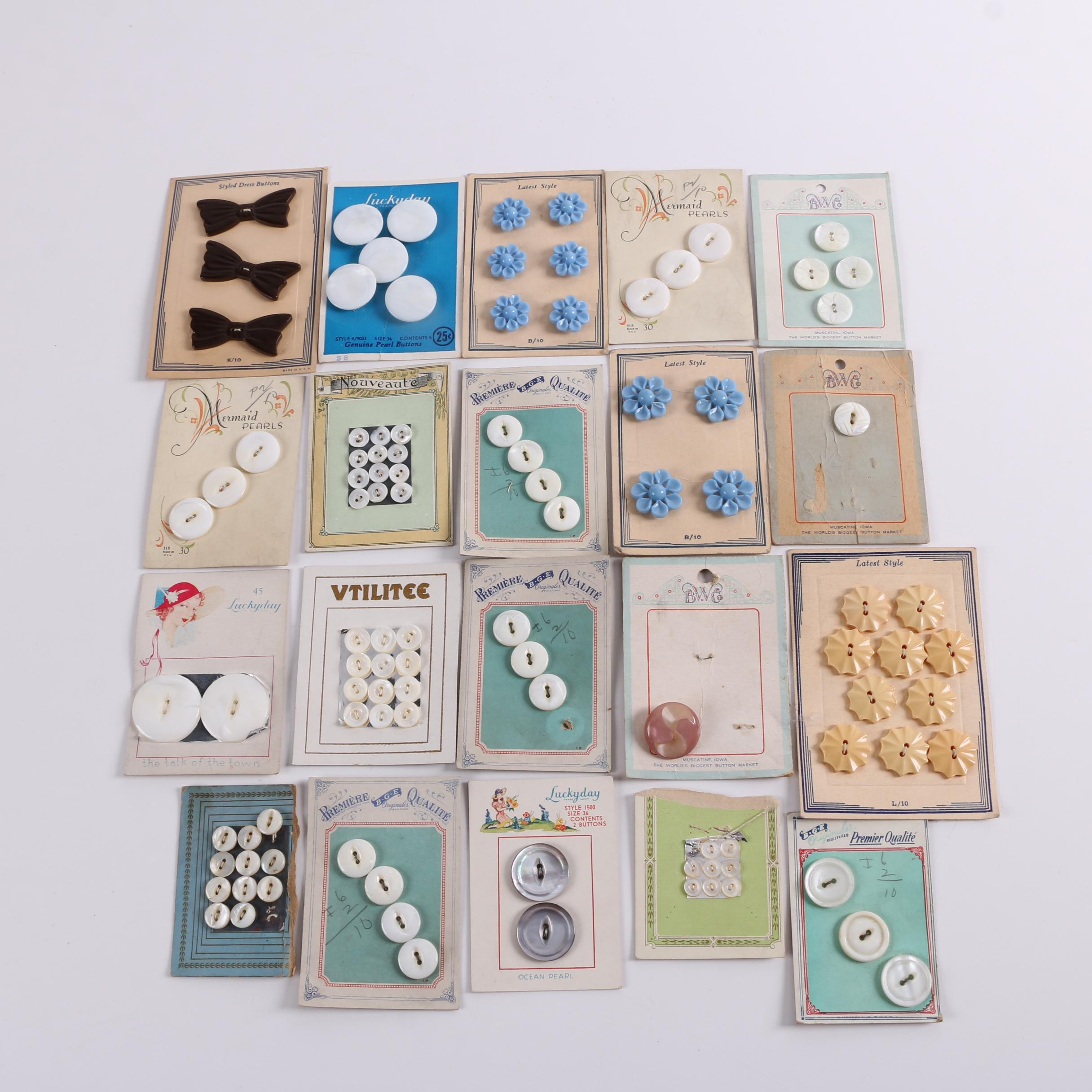 Vintage Shell, Glass and Plastic Buttons