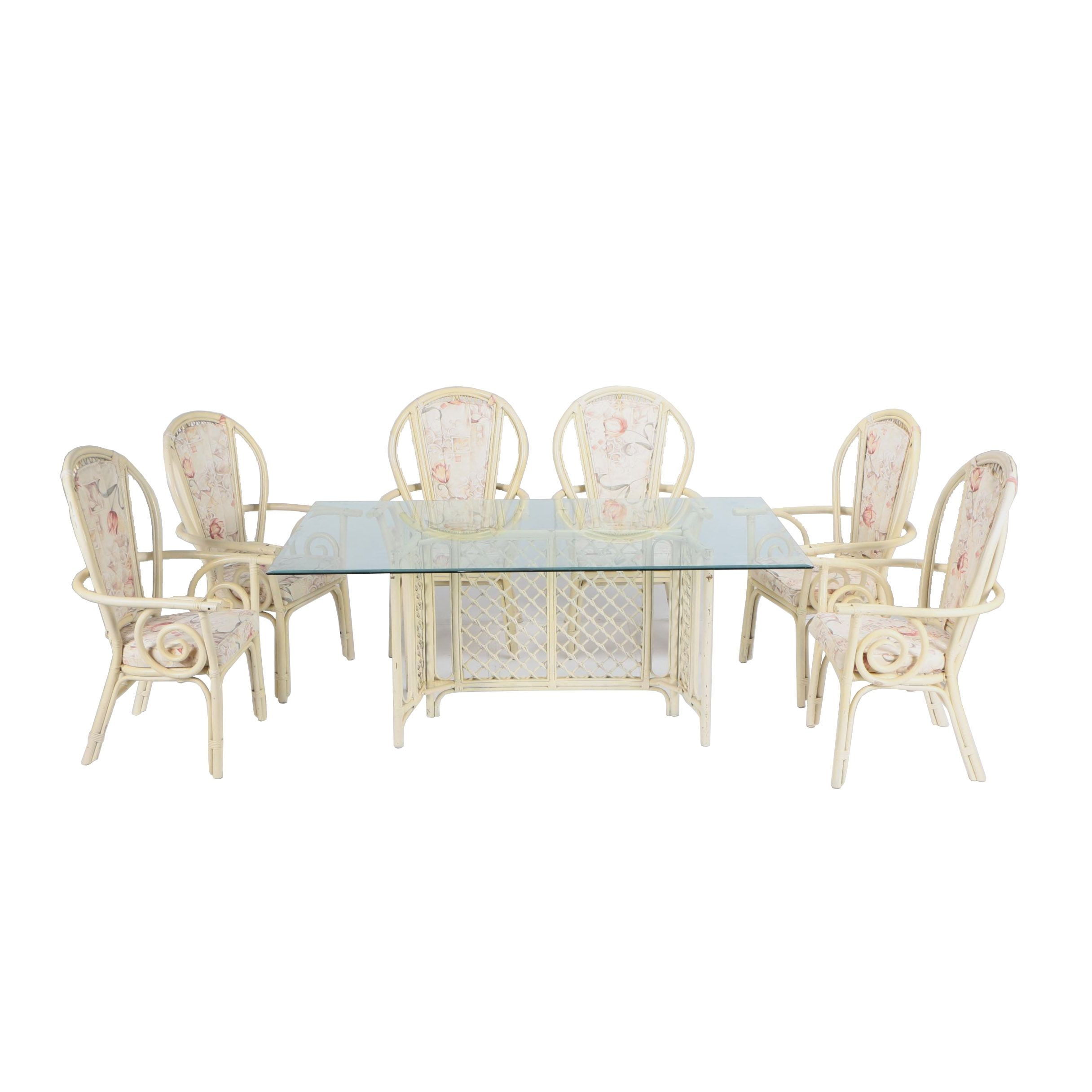 Vintage Painted Rattan Dining Set with Glass Top Table and Six Armchairs