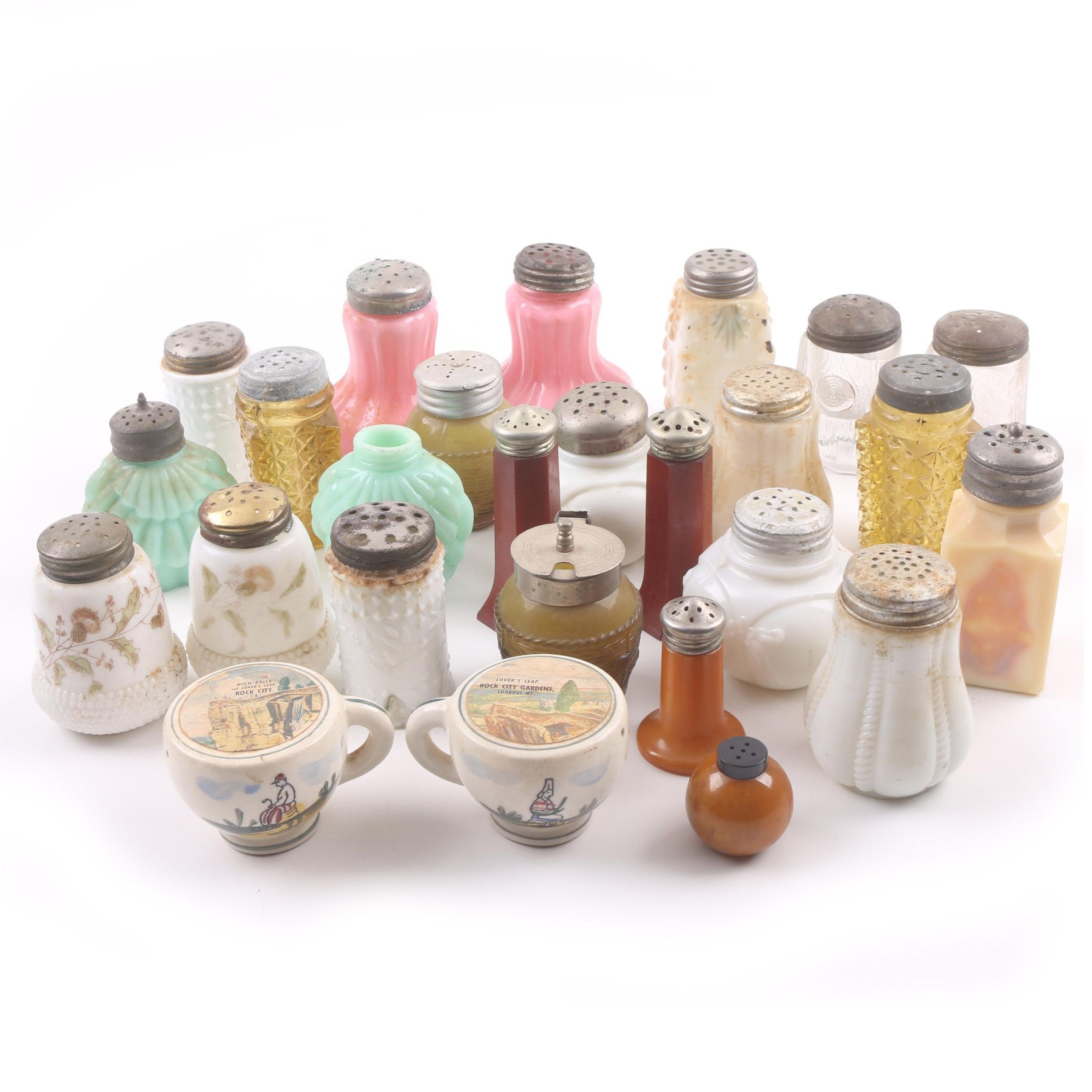 Vintage Glass, Milk Glass And Ceramic Salt And Pepper Shakers ...
