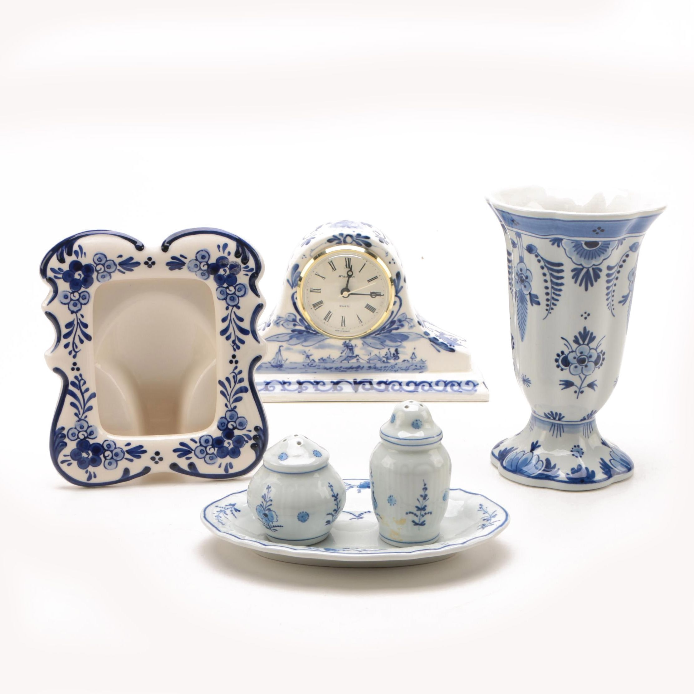 Blue and White Delft Clock, Elesva Frame and Royal Delft Shakers and Vase