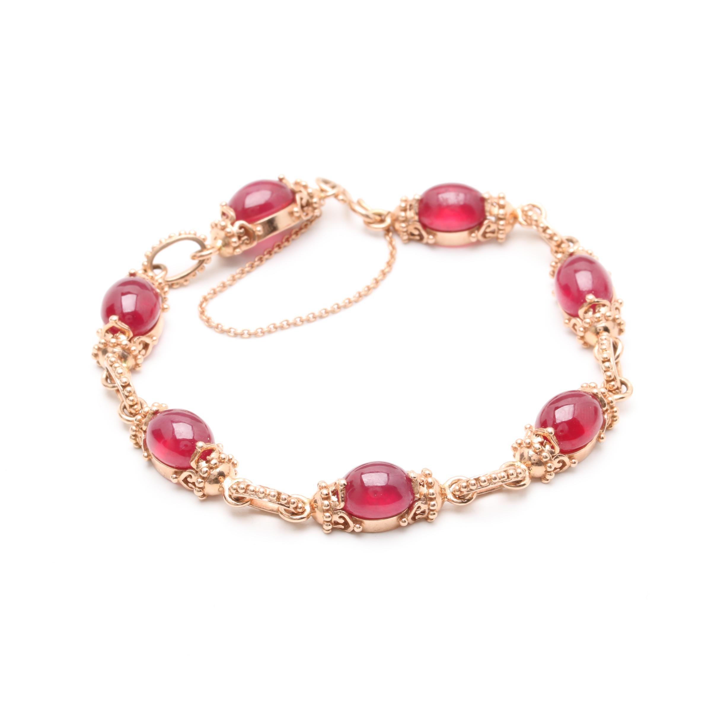 14K Rose Gold Filled Corundum Bracelet