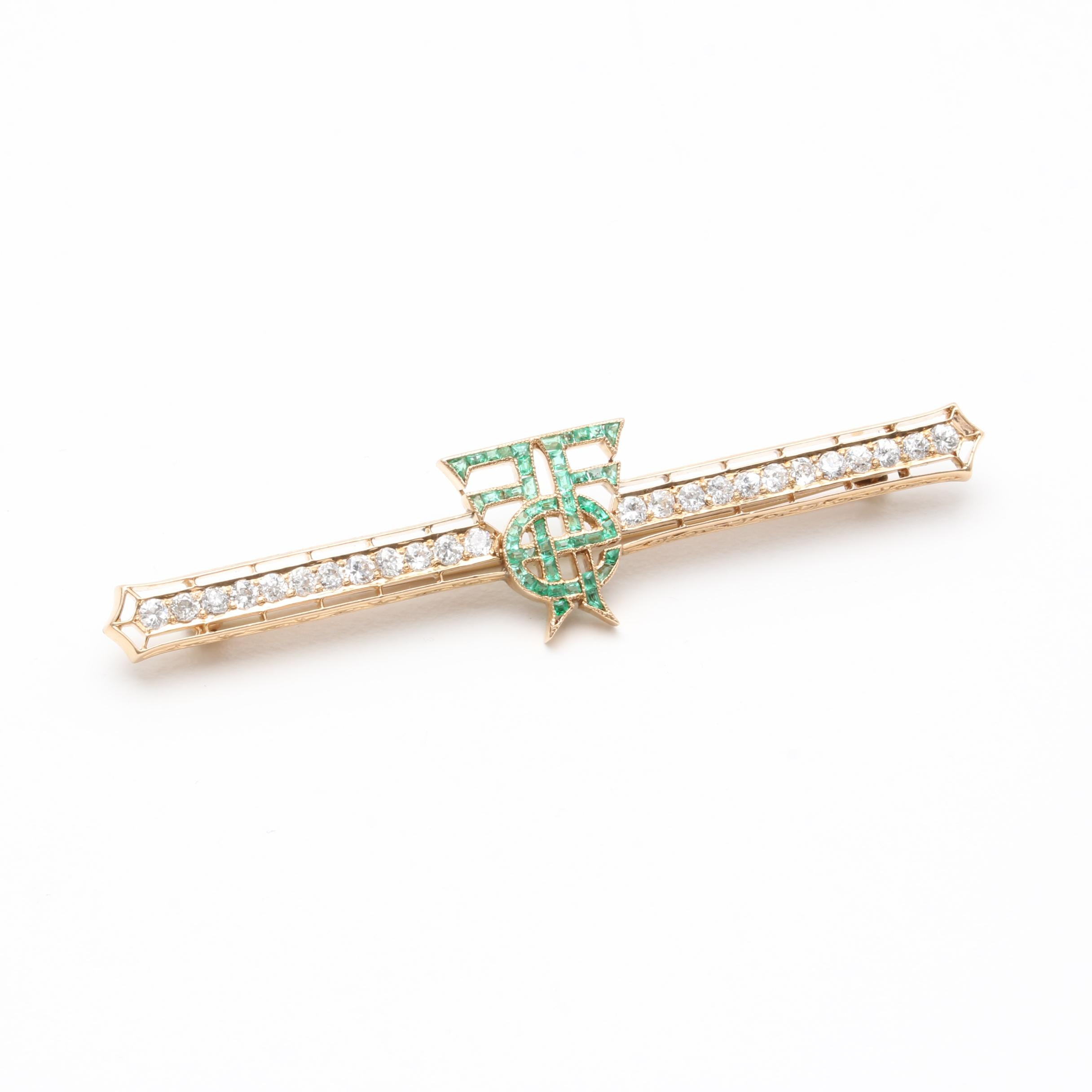 Art Deco 14K Yellow Gold Emerald and 1.00 CTW Diamond Brooch