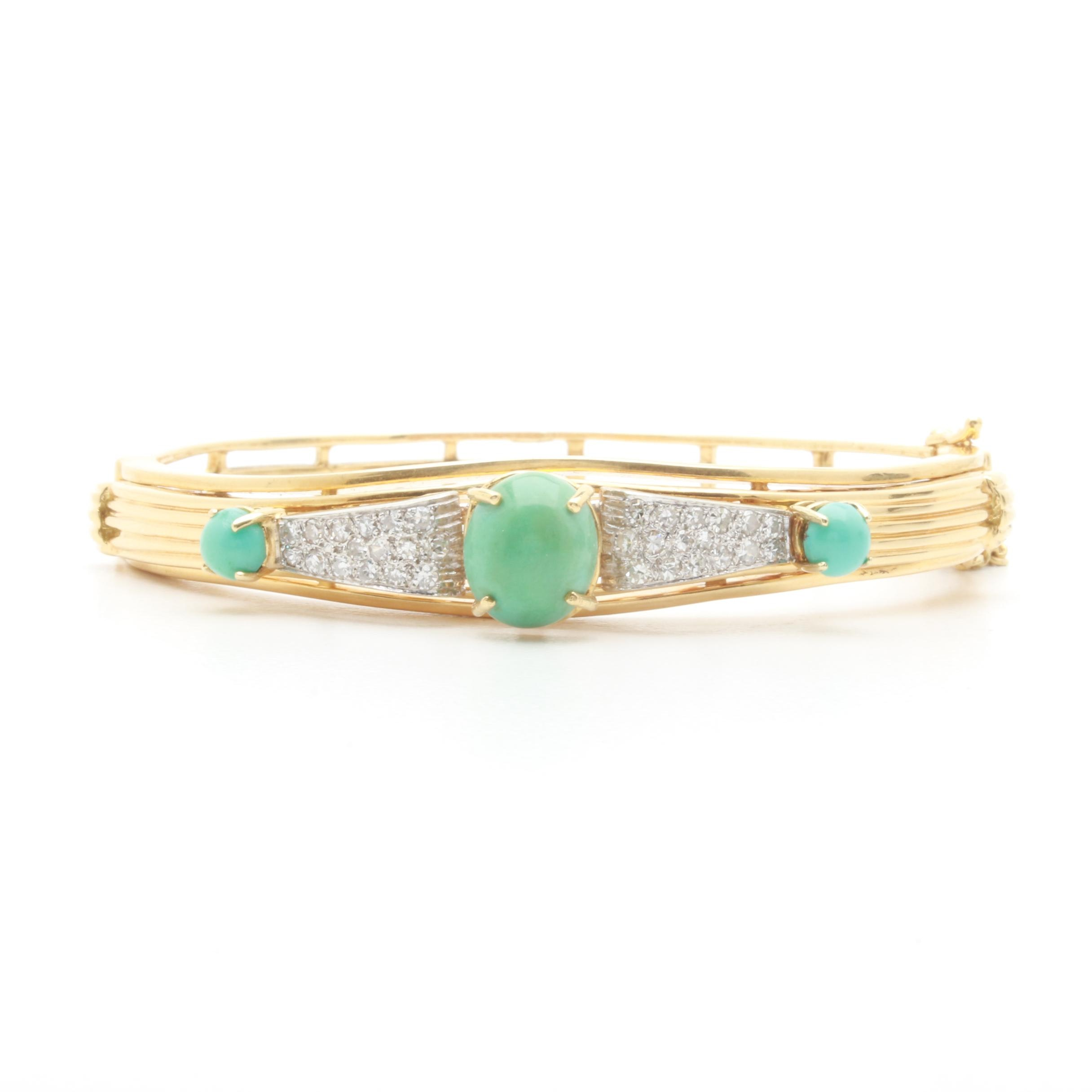18K Yellow Gold Turquoise and Diamond Bracelet With 14K White Gold Accents