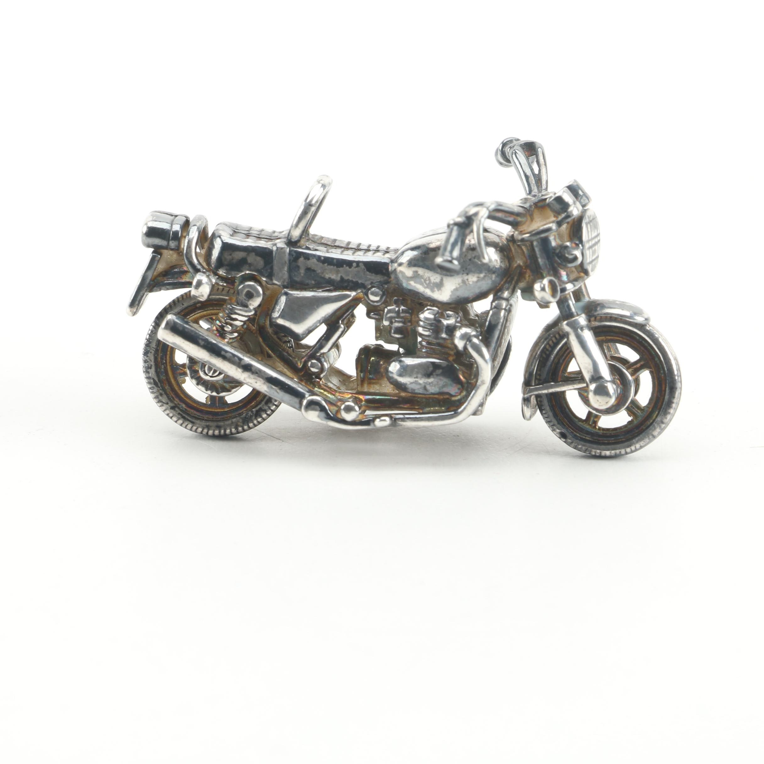 Sterling Silver and Silver Plate Motorcycle Figurine