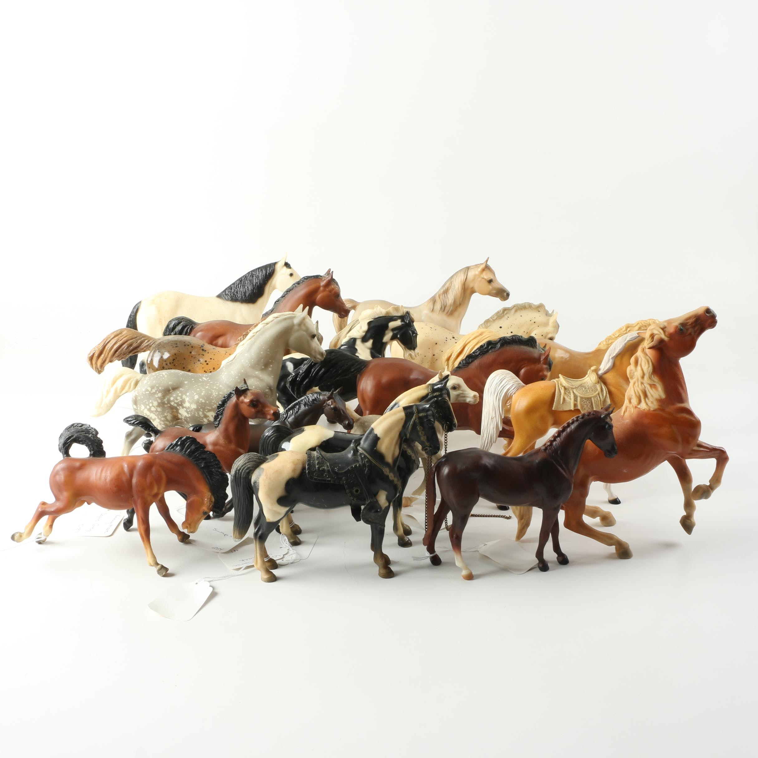 Plastic Horse Figurines Including Western Horses